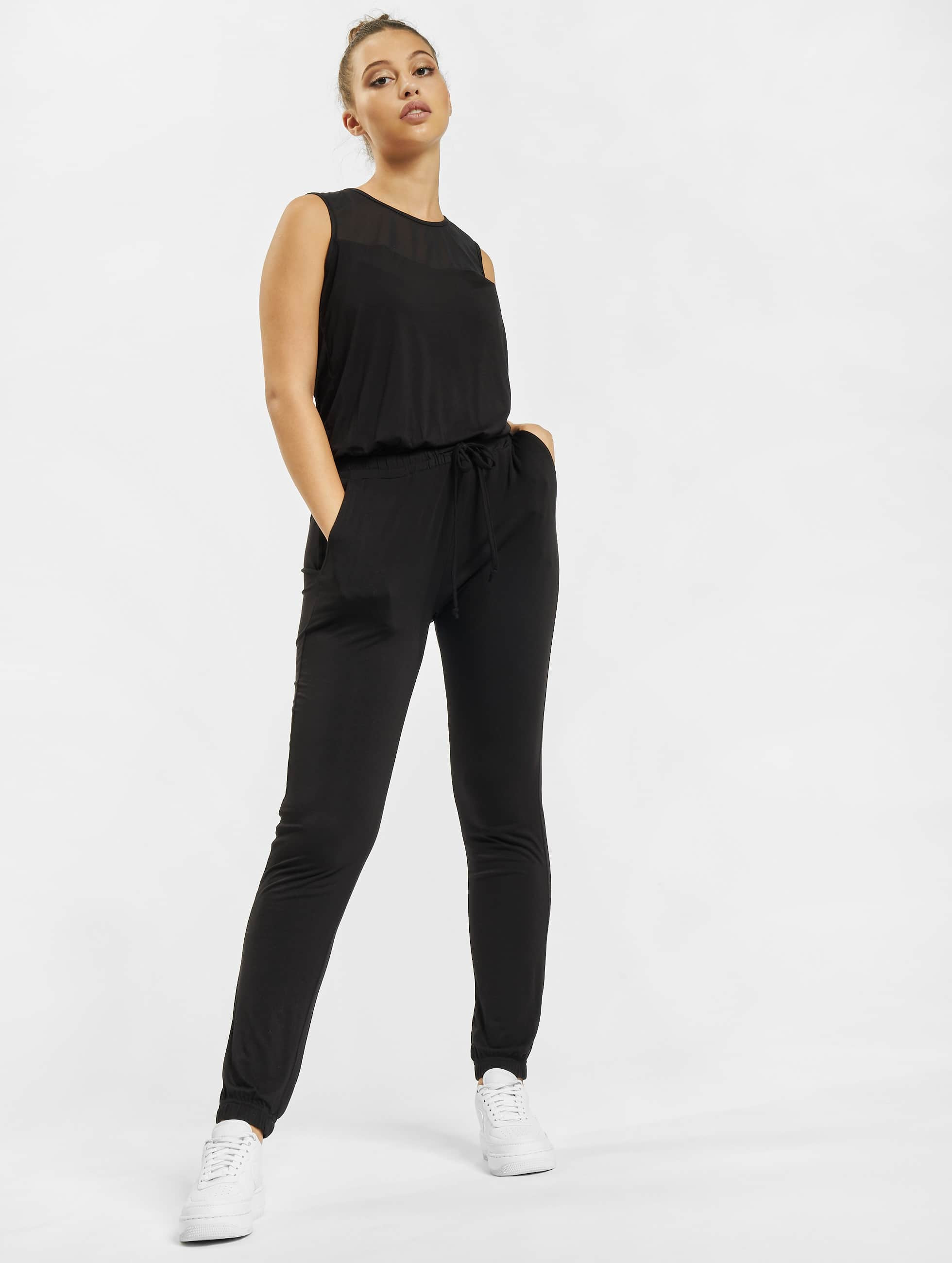 Urban Classics Jumpsuits Tech Mesh Long czarny