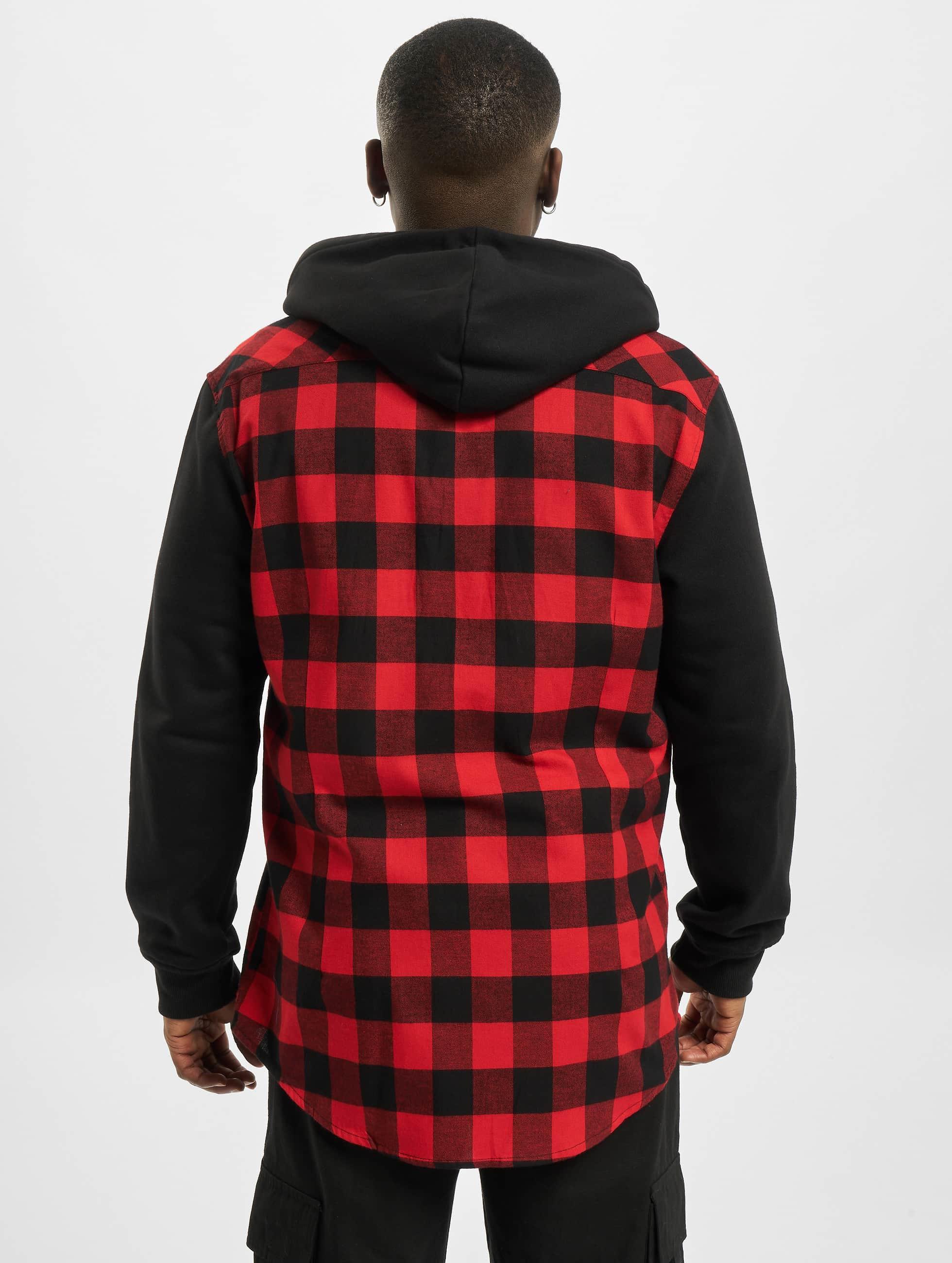 Urban Classics Kauluspaidat Hooded Checked Flanell Sweat Sleeve punainen