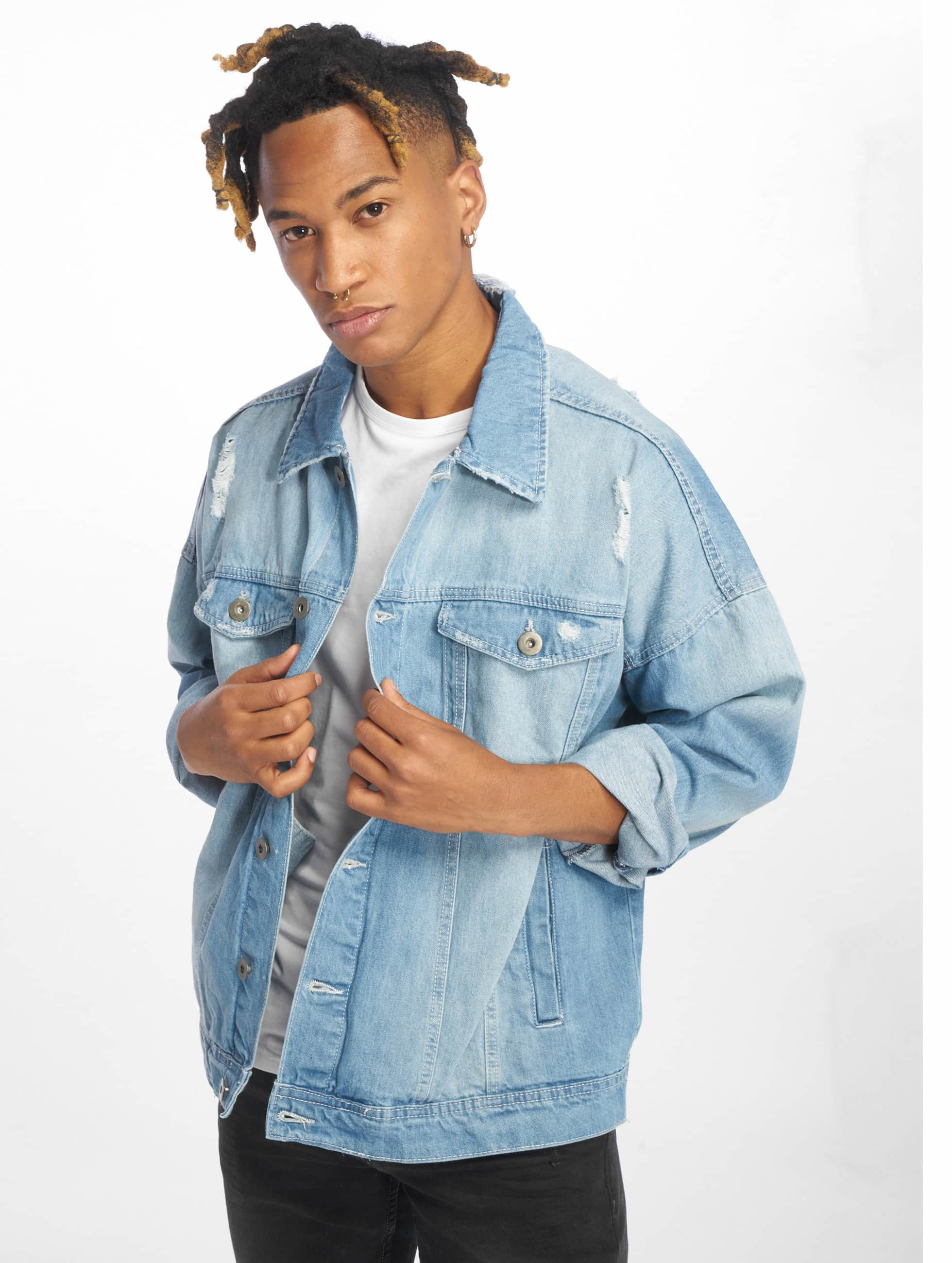 Urban Classics Lightweight Jacket Ripped Denim blue