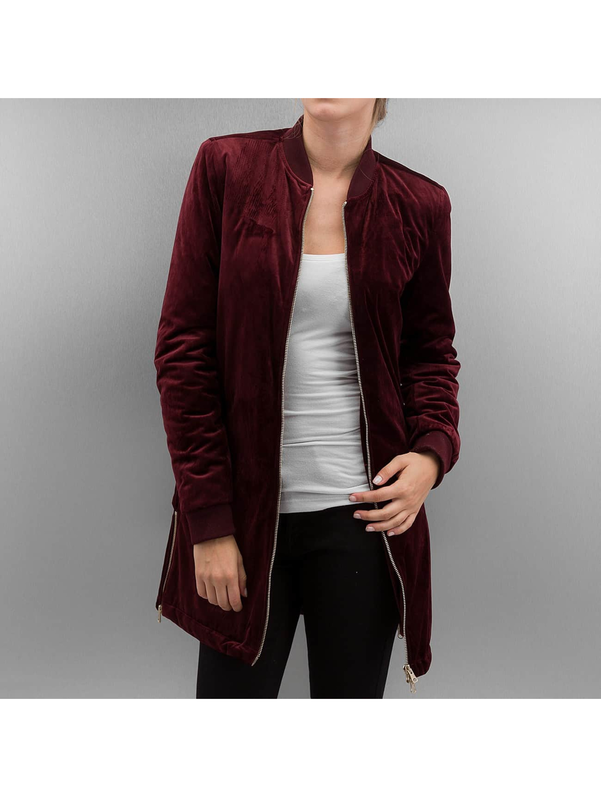 Urban Classics Lightweight Jacket Ladies Long Velvet red