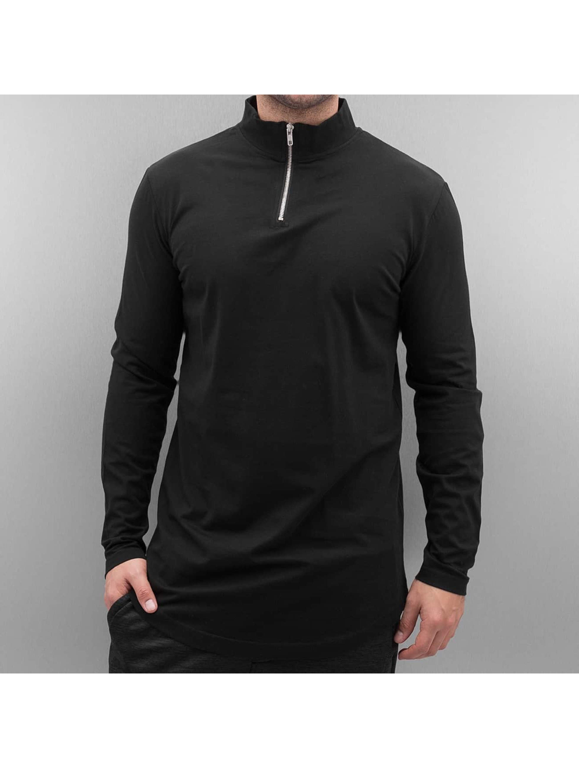 Urban Classics Longsleeve Long Shaped Turtle Zip black
