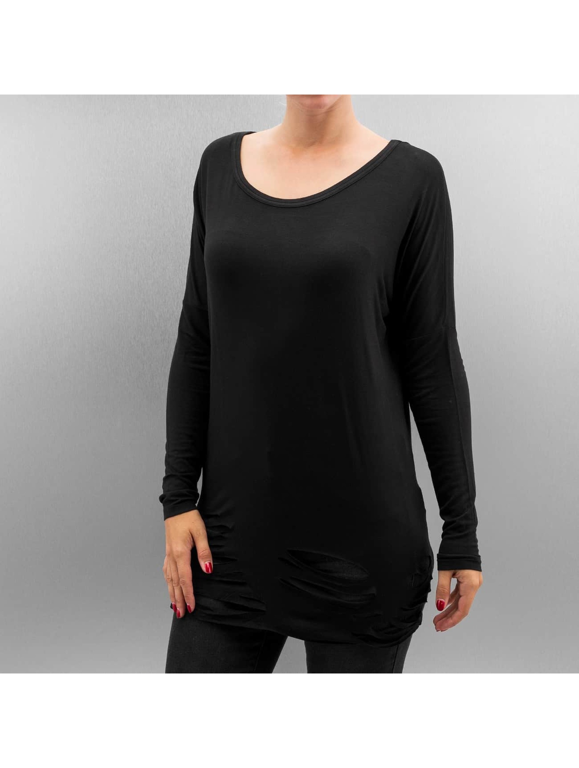 Urban Classics Longsleeve Ladies Cutted Viscose zwart