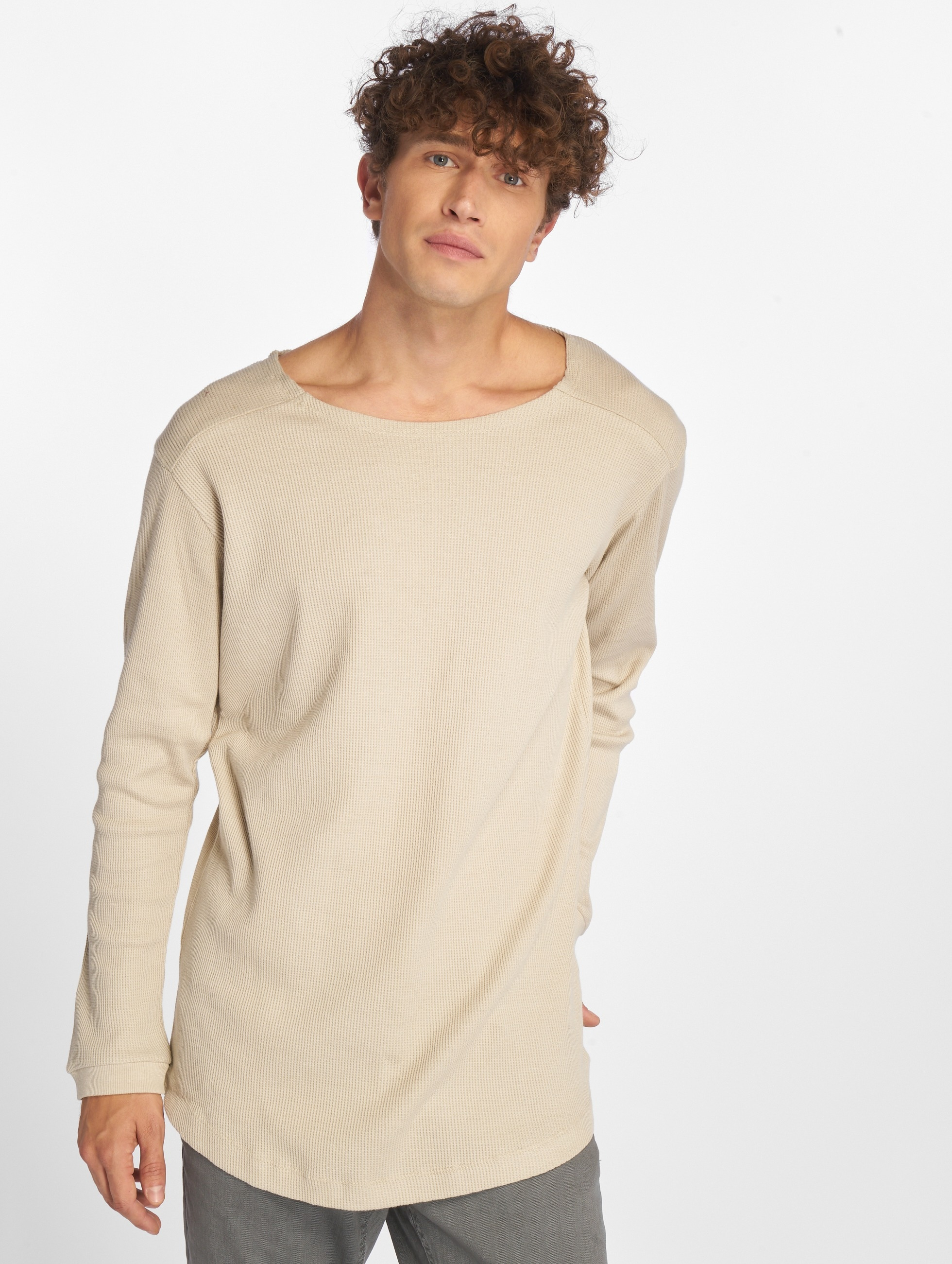 Urban Classics Longsleeves Long Shaped Waffle bezowy