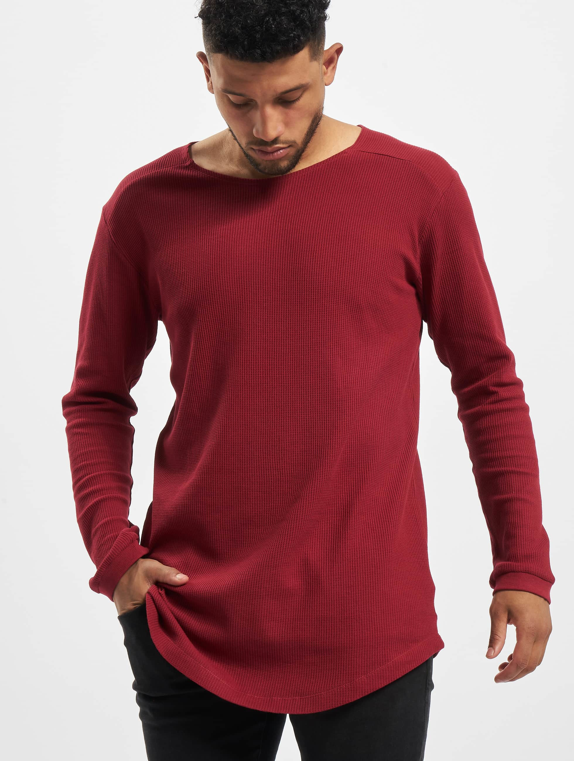 Urban Classics Longsleeves Long Shaped Waffle czerwony