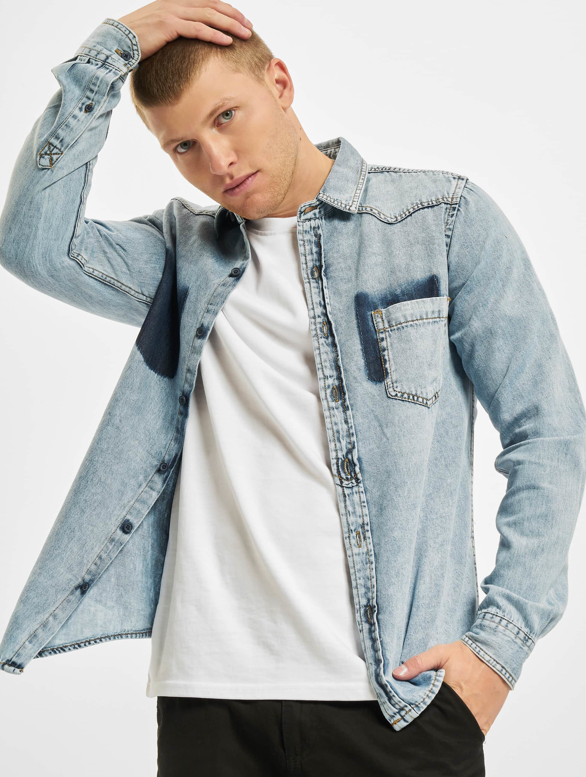 Urban Classics overhemd Denim Pocket blauw