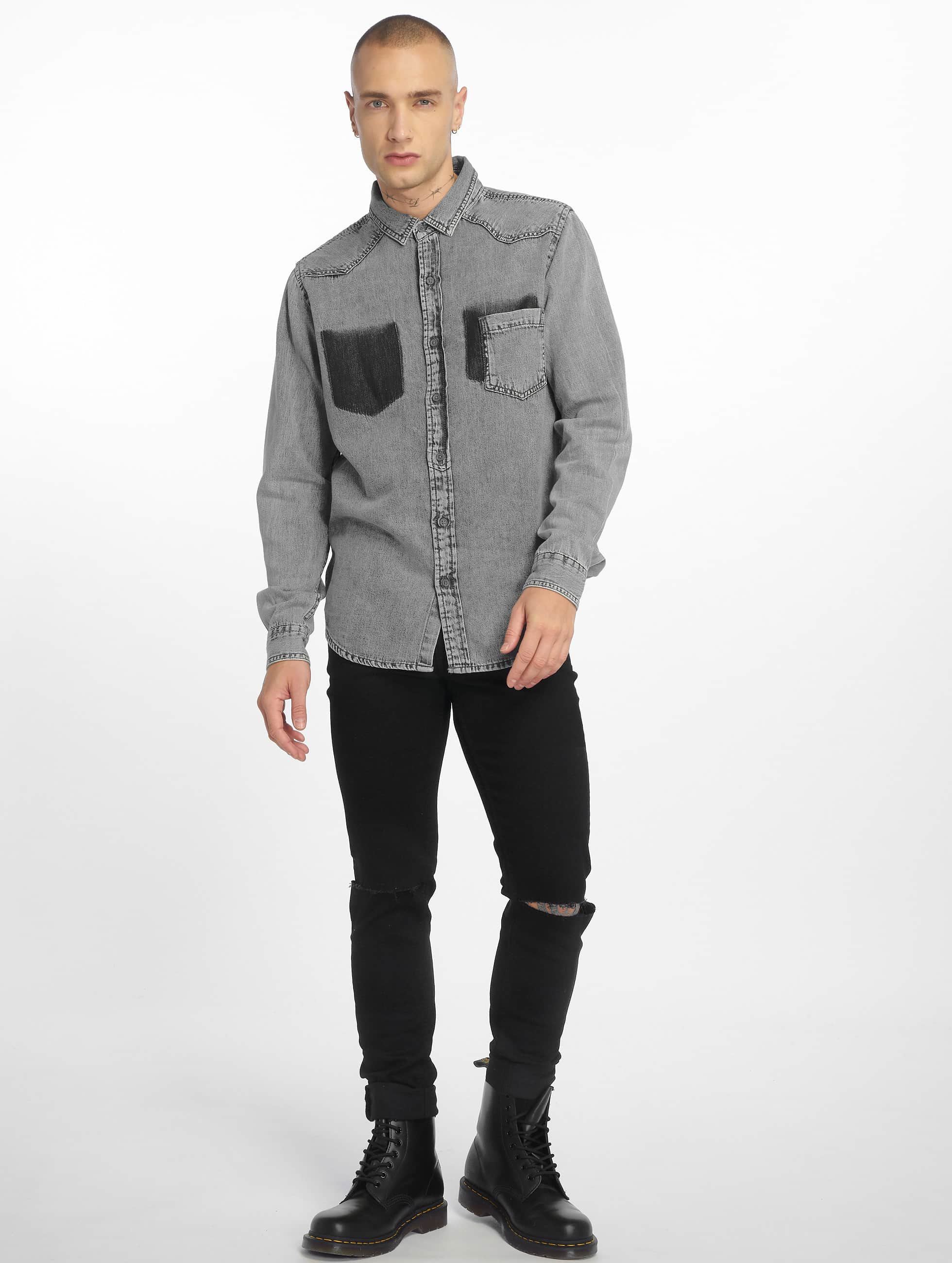 Urban Classics overhemd Denim Pocket grijs