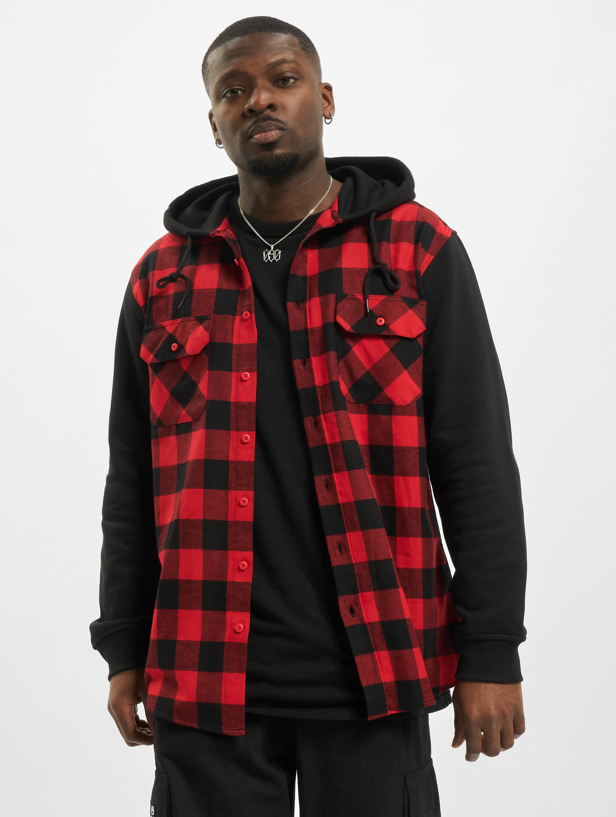Urban Classics heren overhemd Hooded Checked Flanell Sweat Sleeve - rood