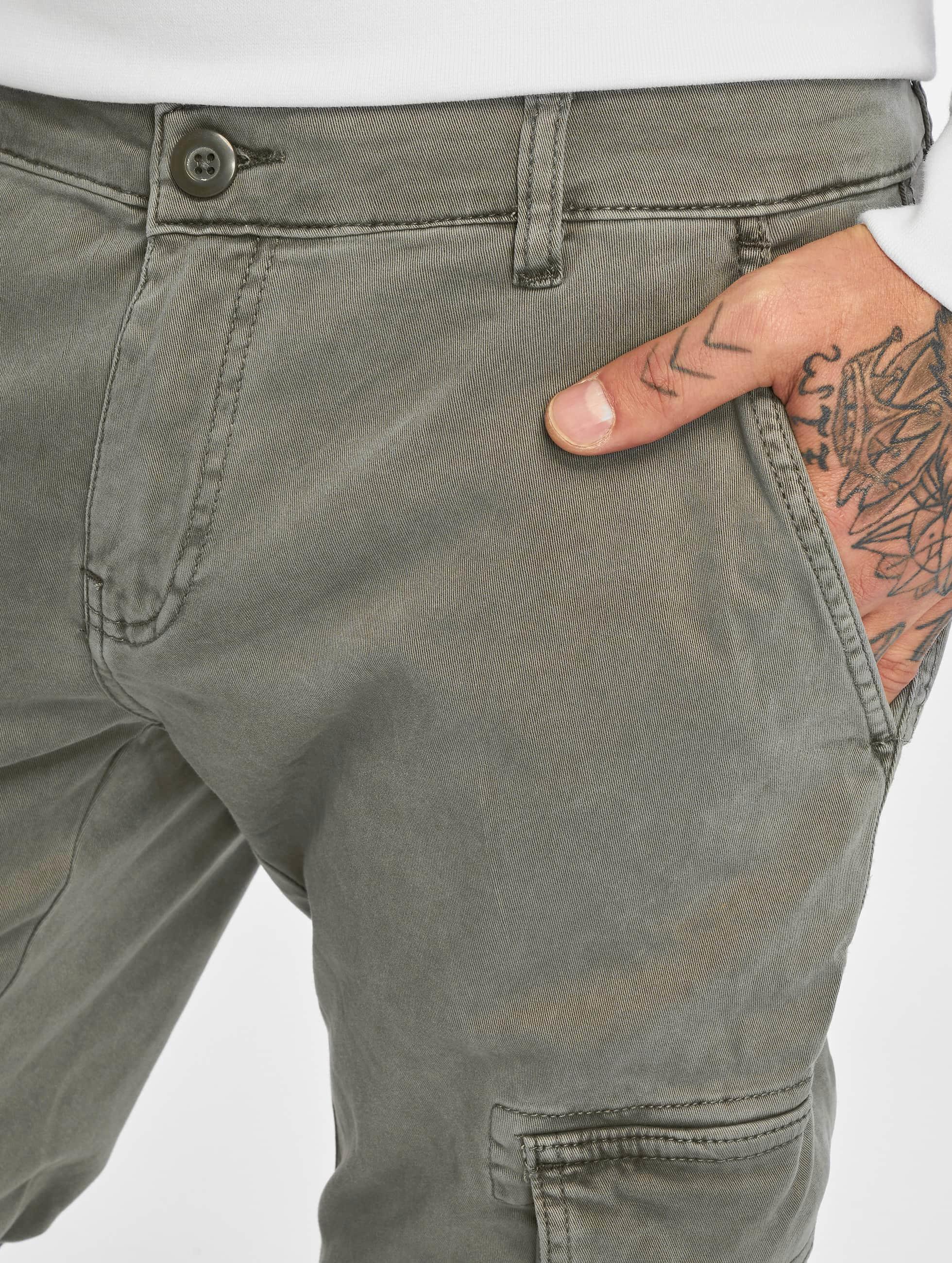 Urban Classics Pantalon cargo Washed Cargo Twill Jogging gris