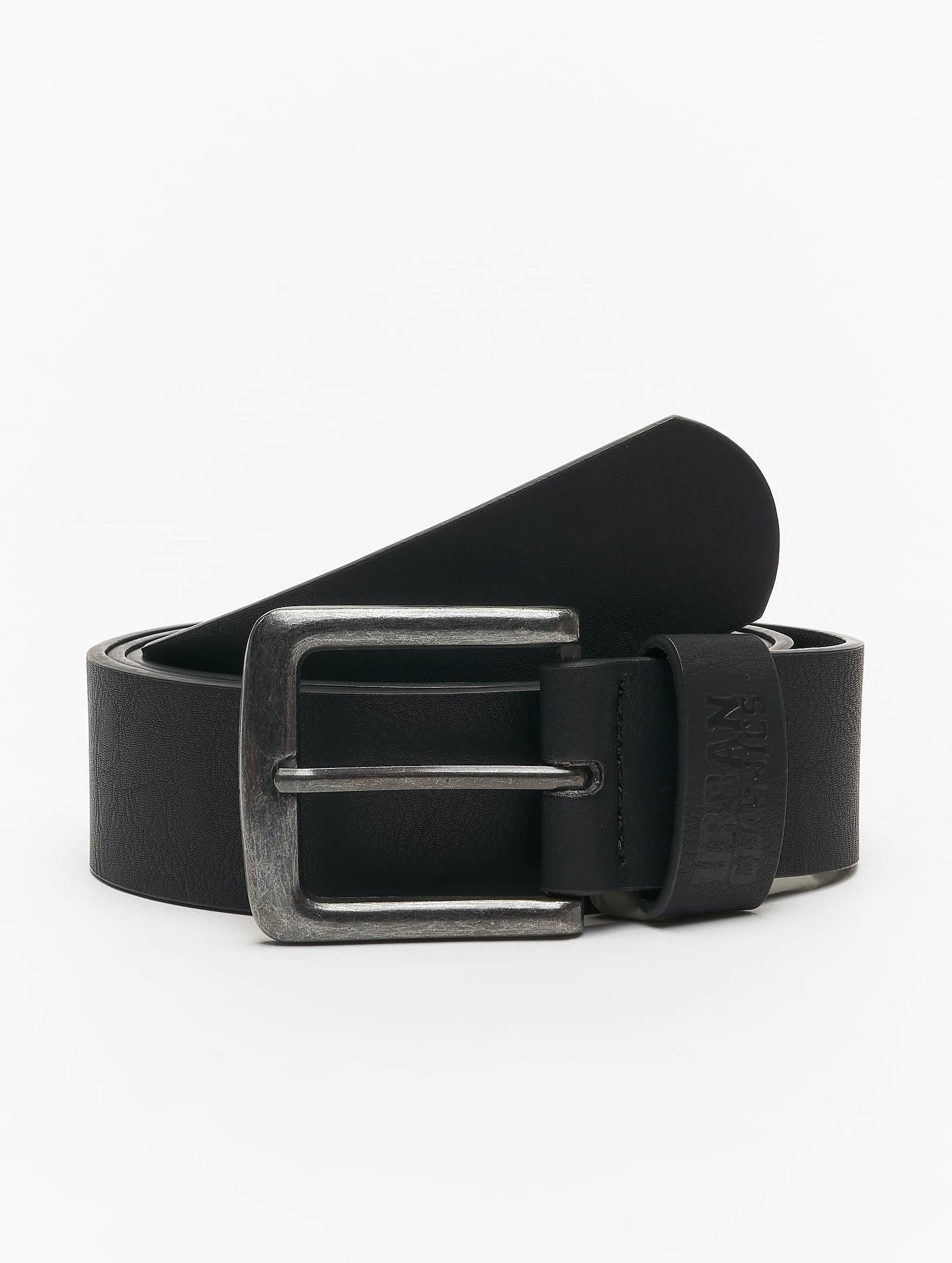 Urban Classics Paski Leather Imitation czarny