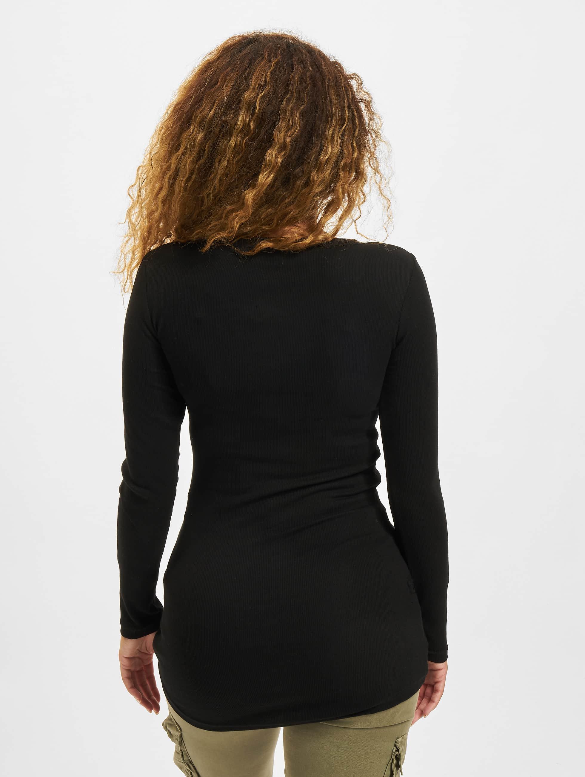 Urban Classics Pitkähihaiset paidat Ladies Long Rib Pocket Turnup musta