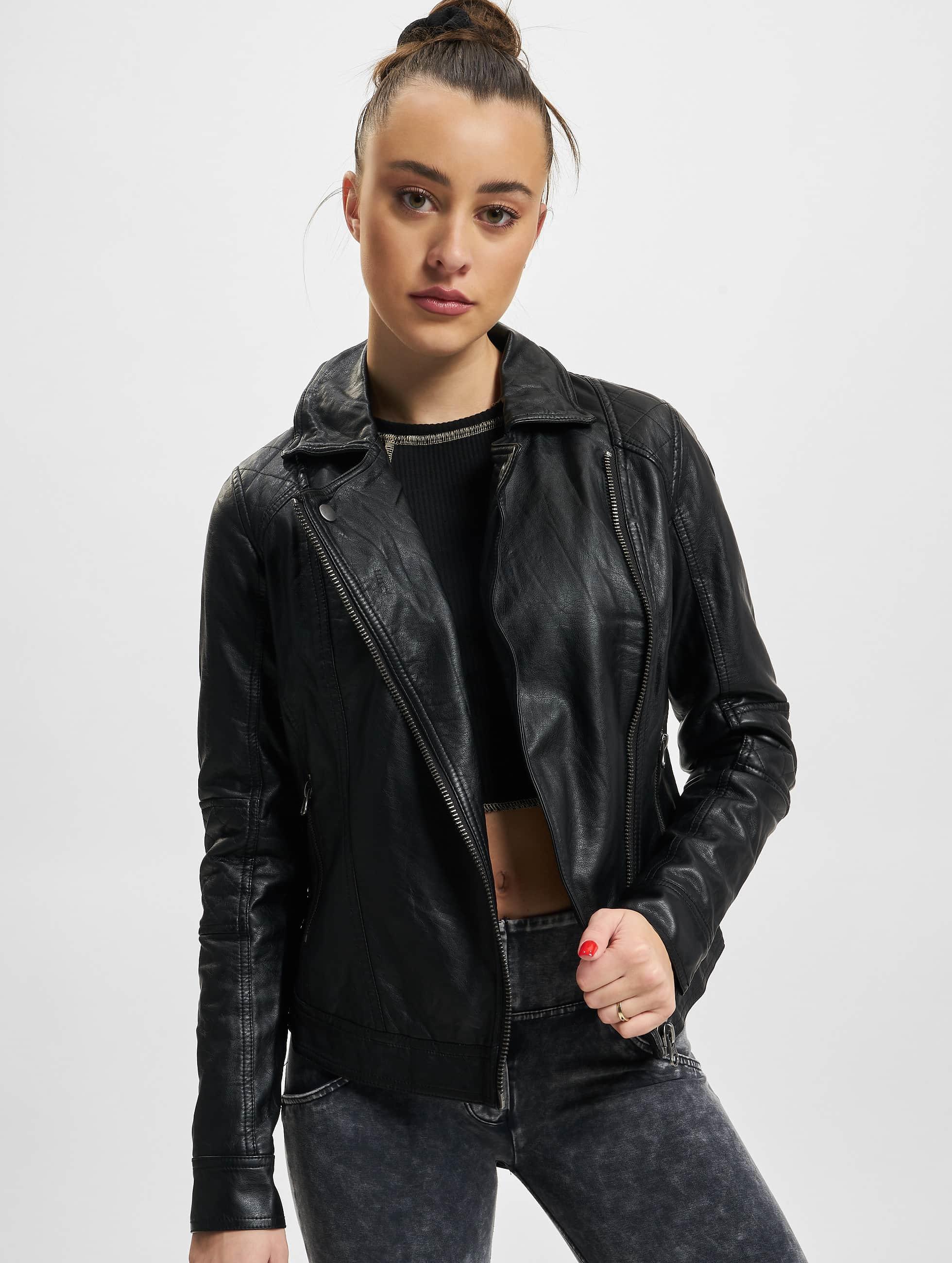 Urban Classics Prechodné vetrovky Ladies Leather Imitation Biker èierna