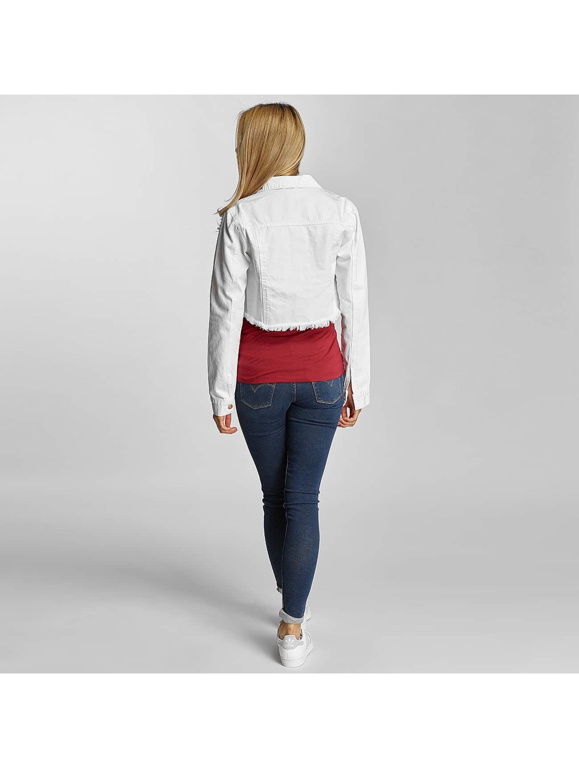 Urban Classics Prechodné vetrovky Ladies Short Denim biela