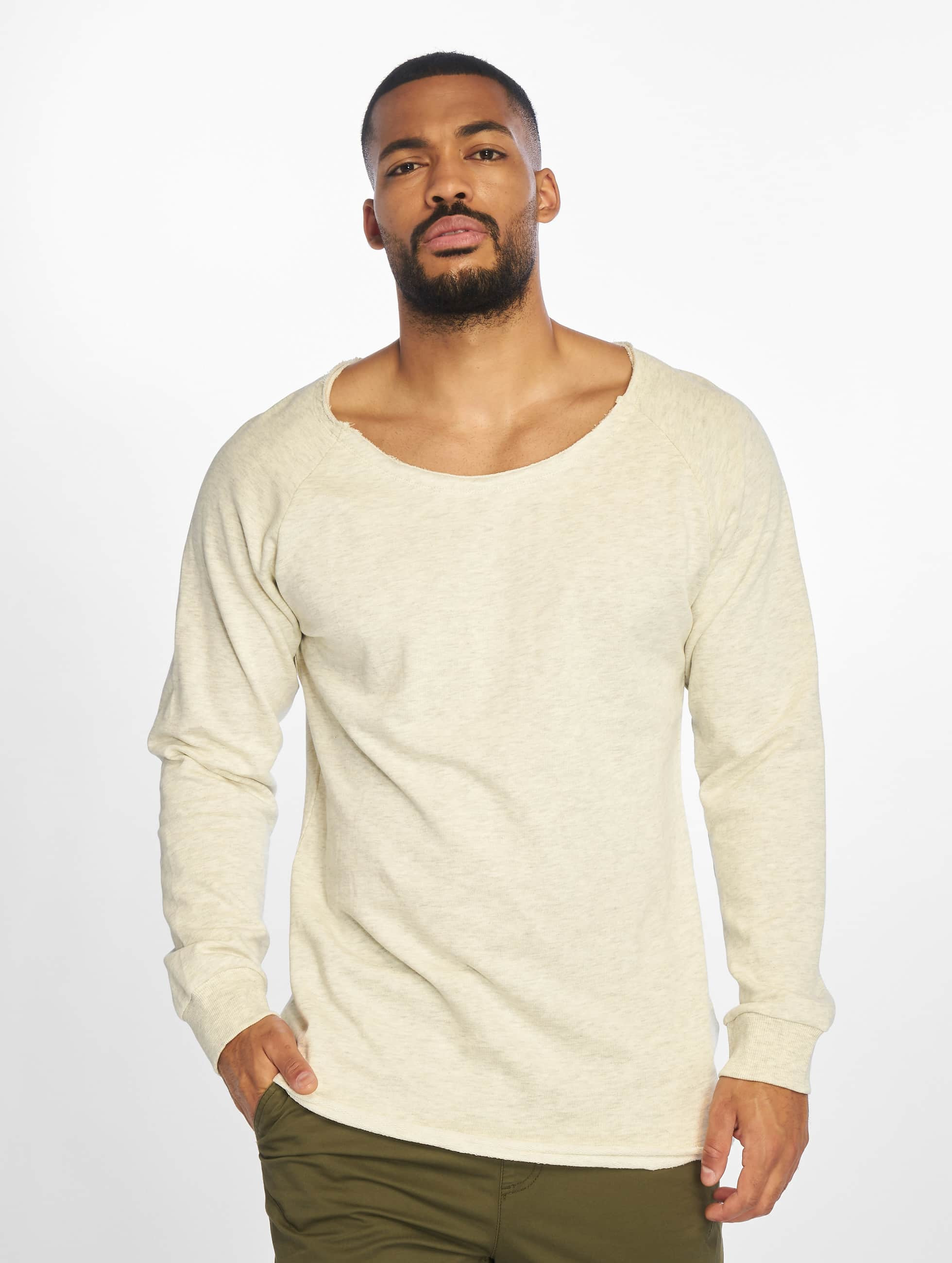 Pullover Long Open Edge Terry in grau
