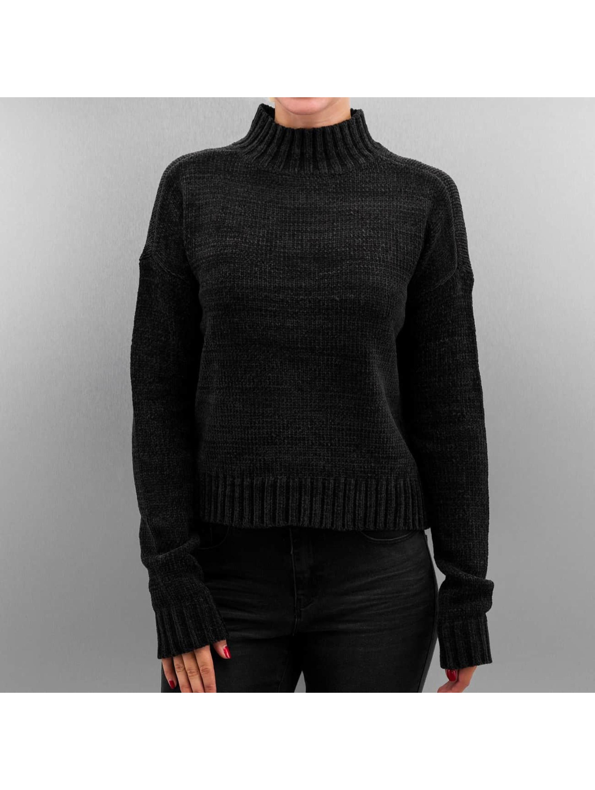 Urban Classics Haut / Pullover Ladies Chenille Turtleneck en noir