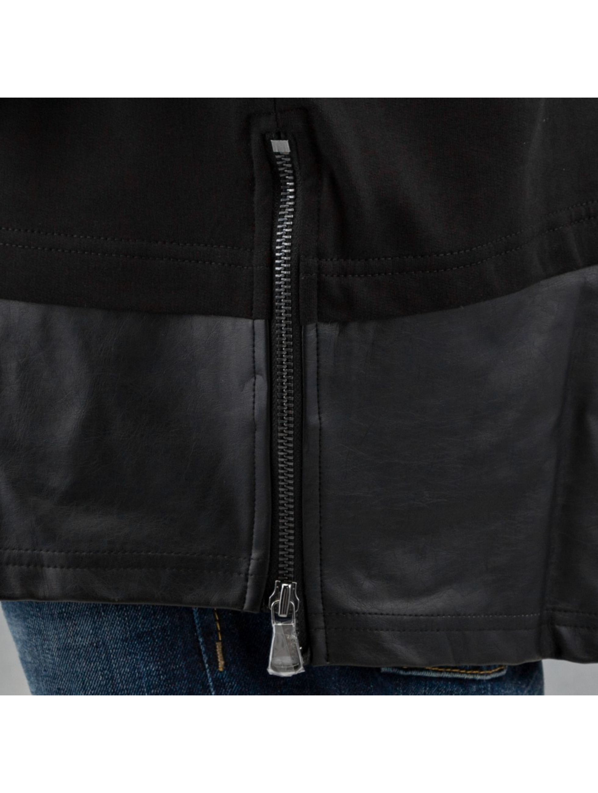 Urban Classics Pullover Long Zipped Leather Imitation schwarz