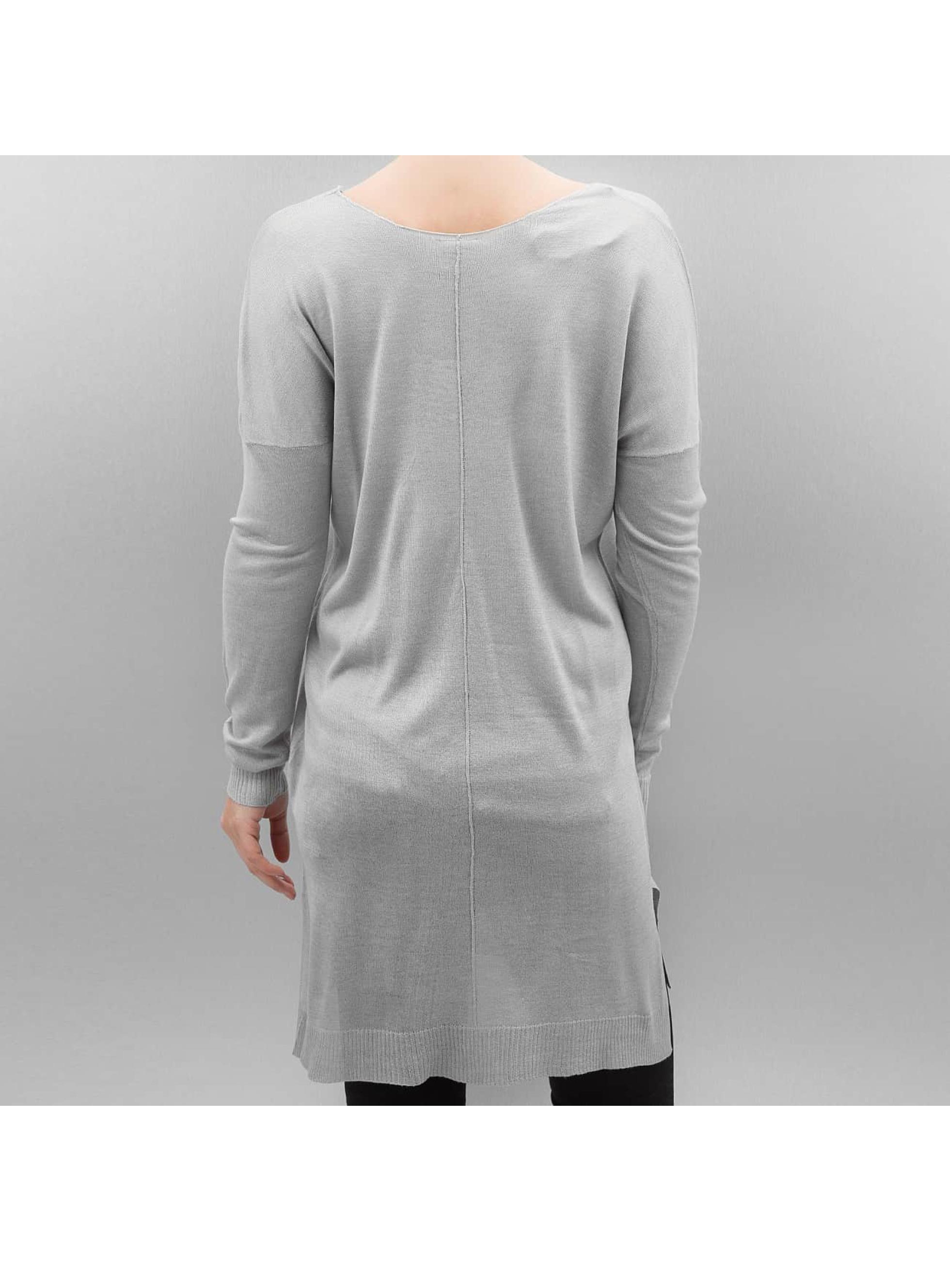 Urban Classics Pulóvre Ladies Fine Knit Oversize V-Neck šedá