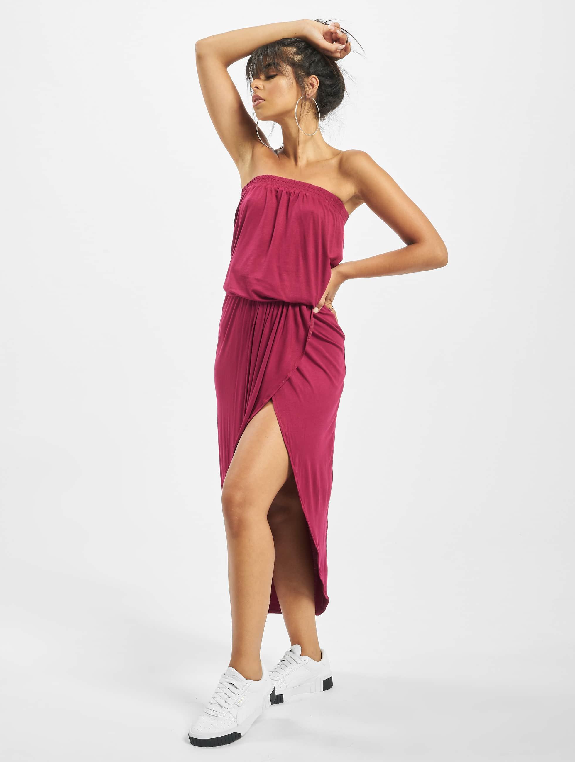 Urban Classics / Robe Ladies Viscose Bandeau en rouge