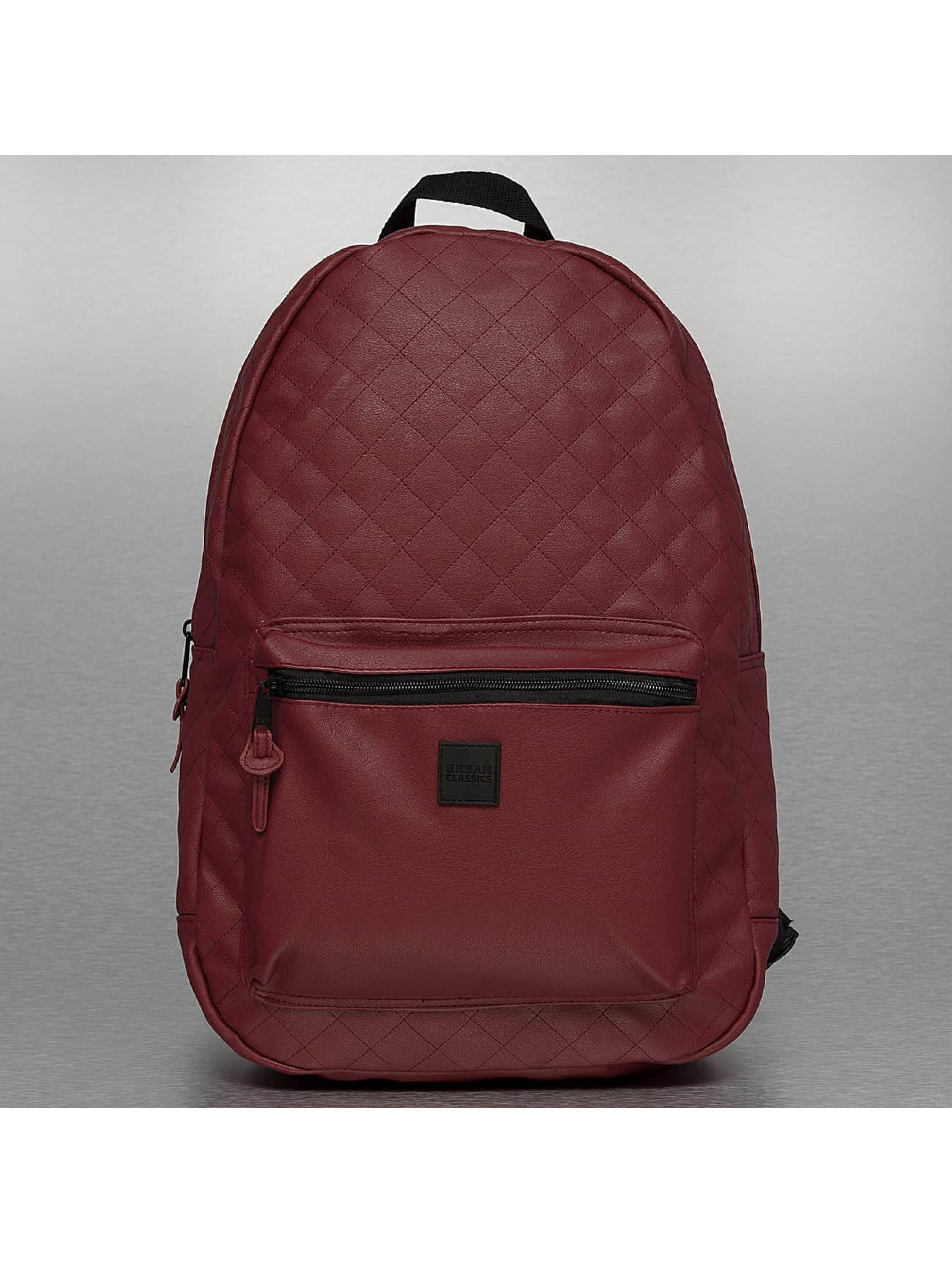Rucksack Diamond Quilt Leather Imitation in rot