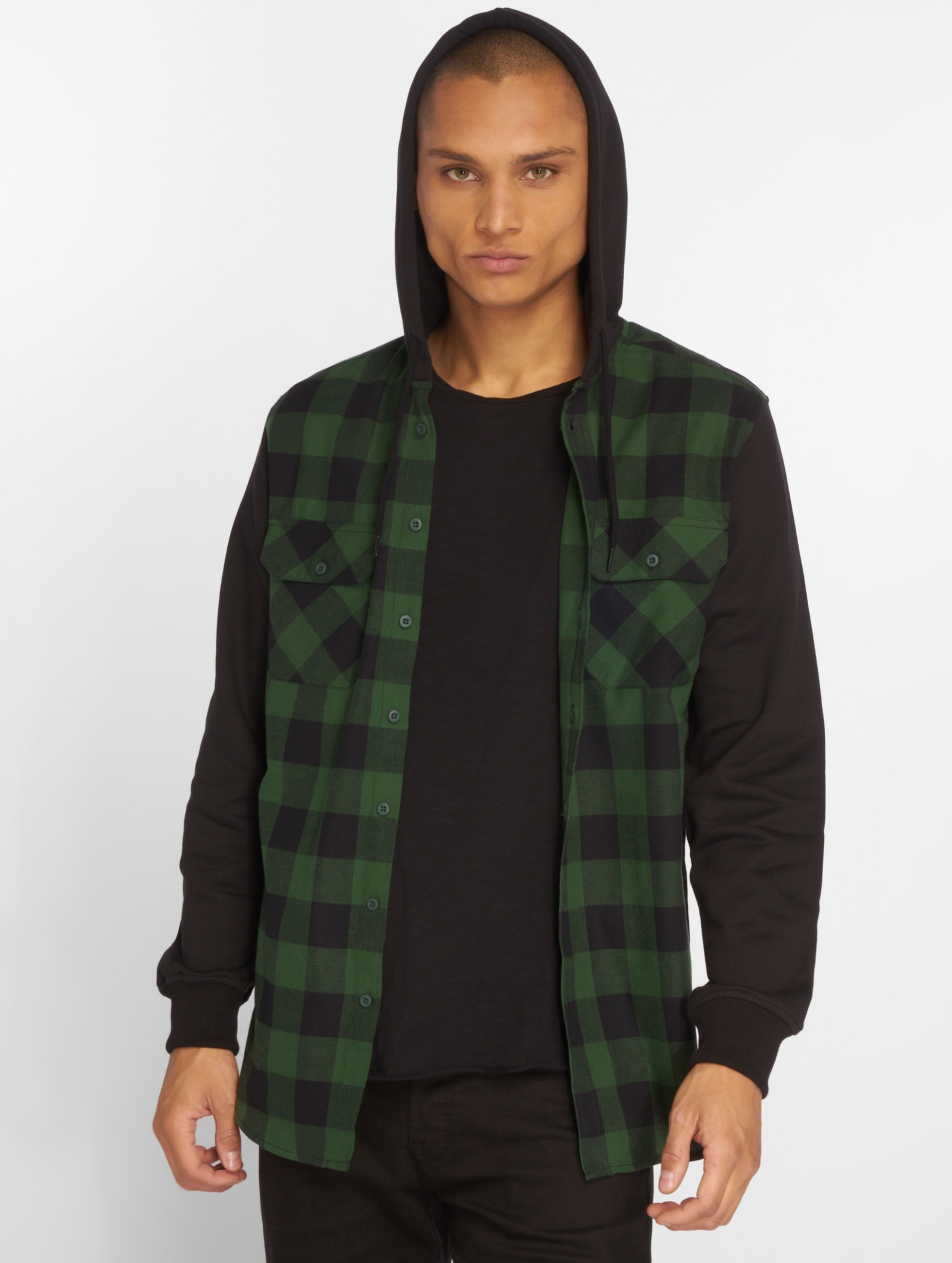 Urban Classics Shirt Hooded Checked Flanell black