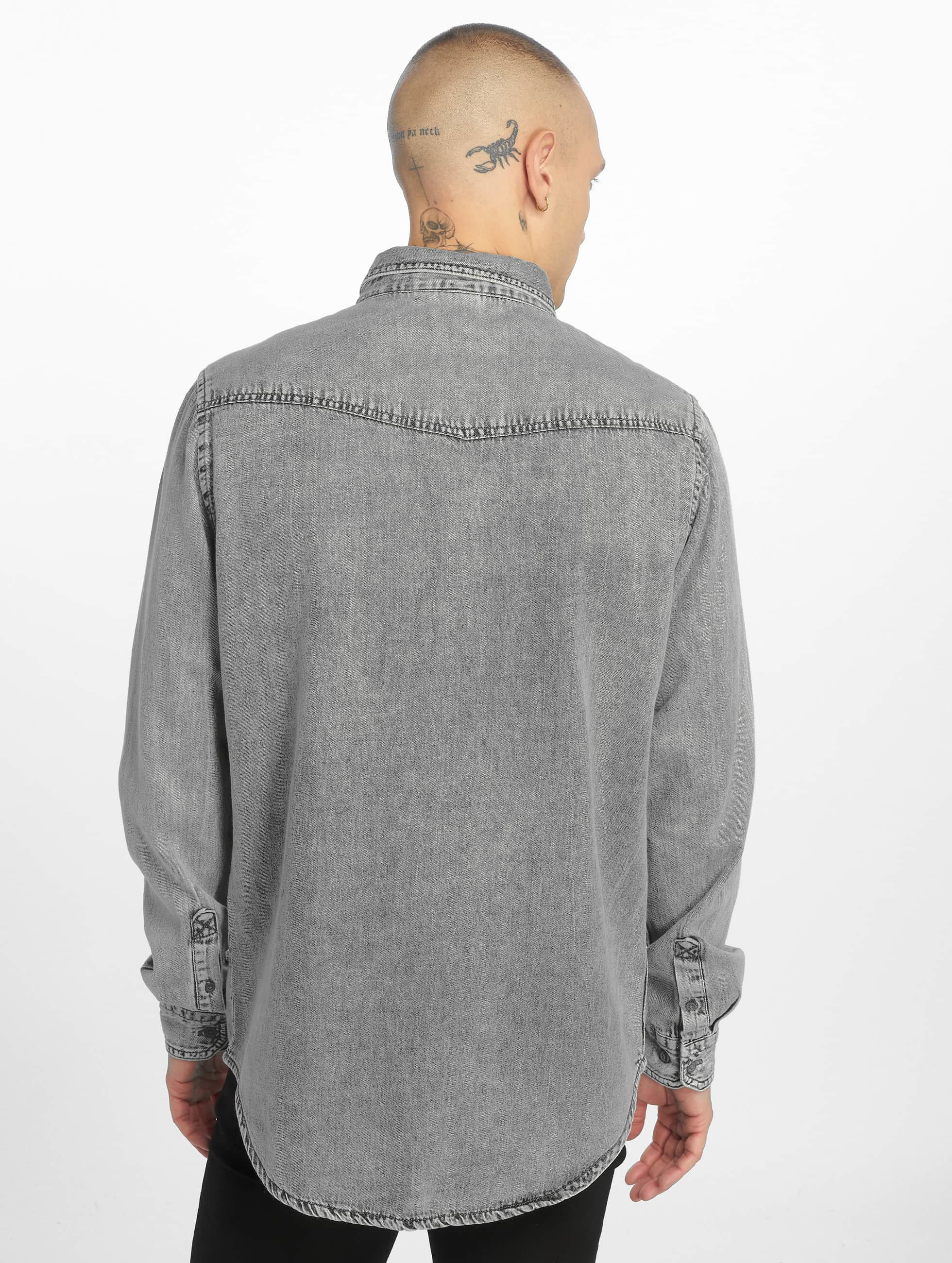 Urban Classics Shirt Denim Pocket grey