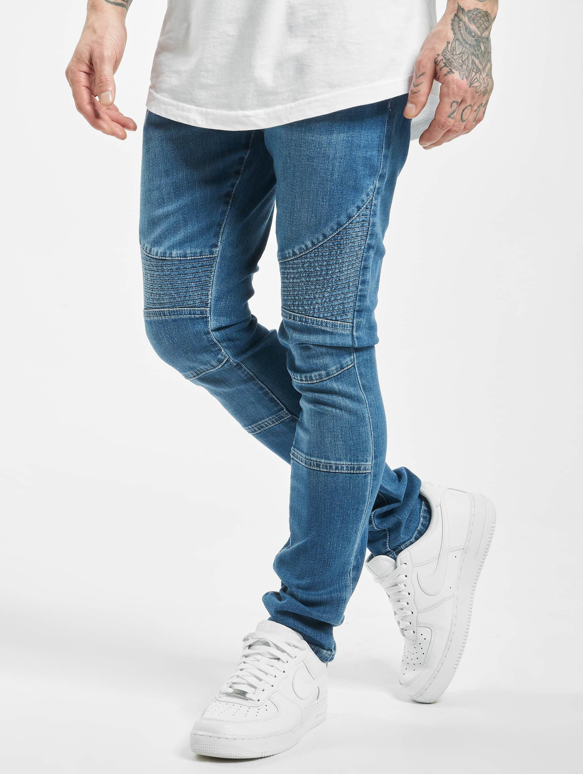 Urban Classics Skinny Jeans Slim Fit Biker blau