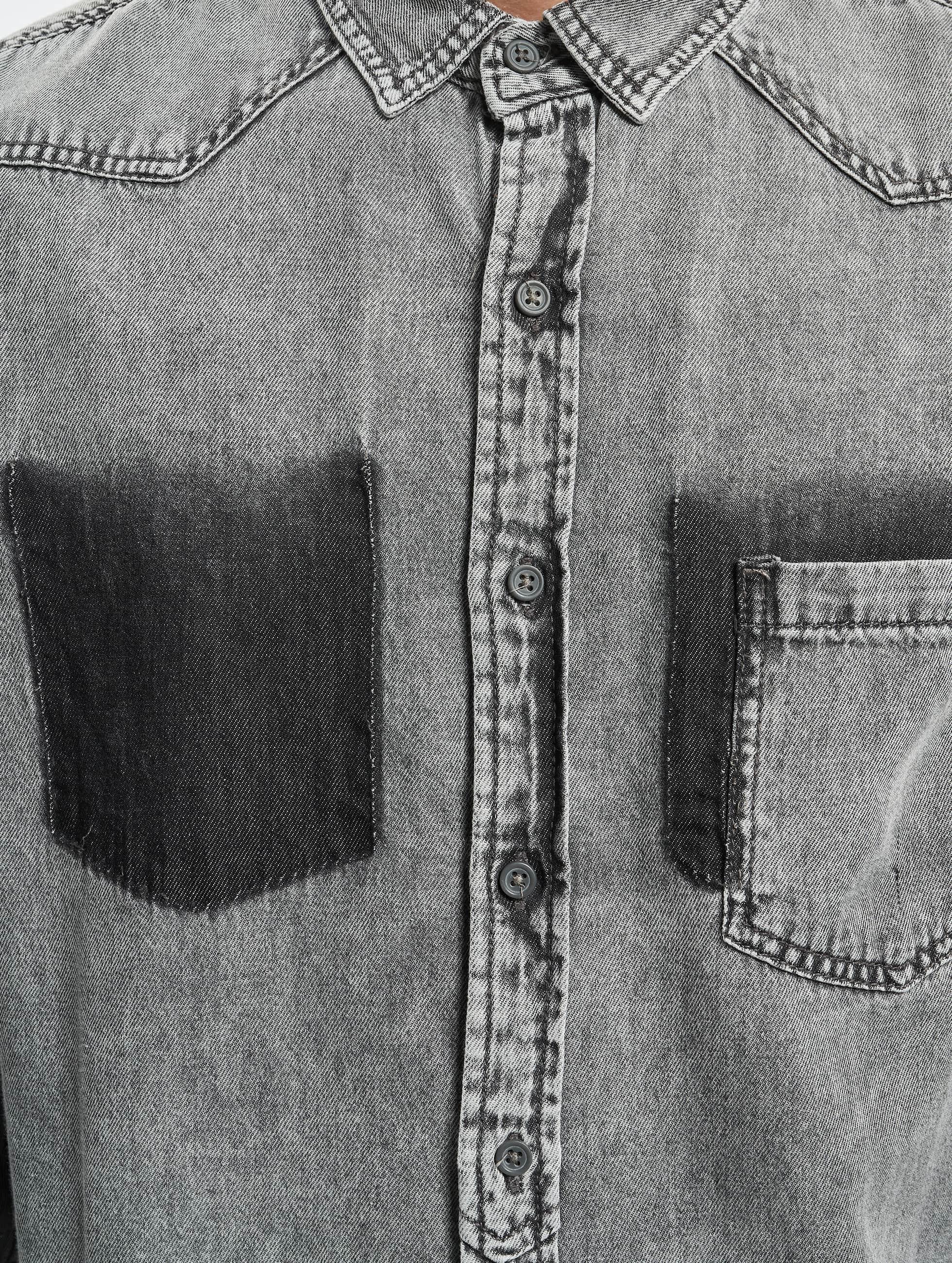 Urban Classics Skjorta Denim Pocket grå