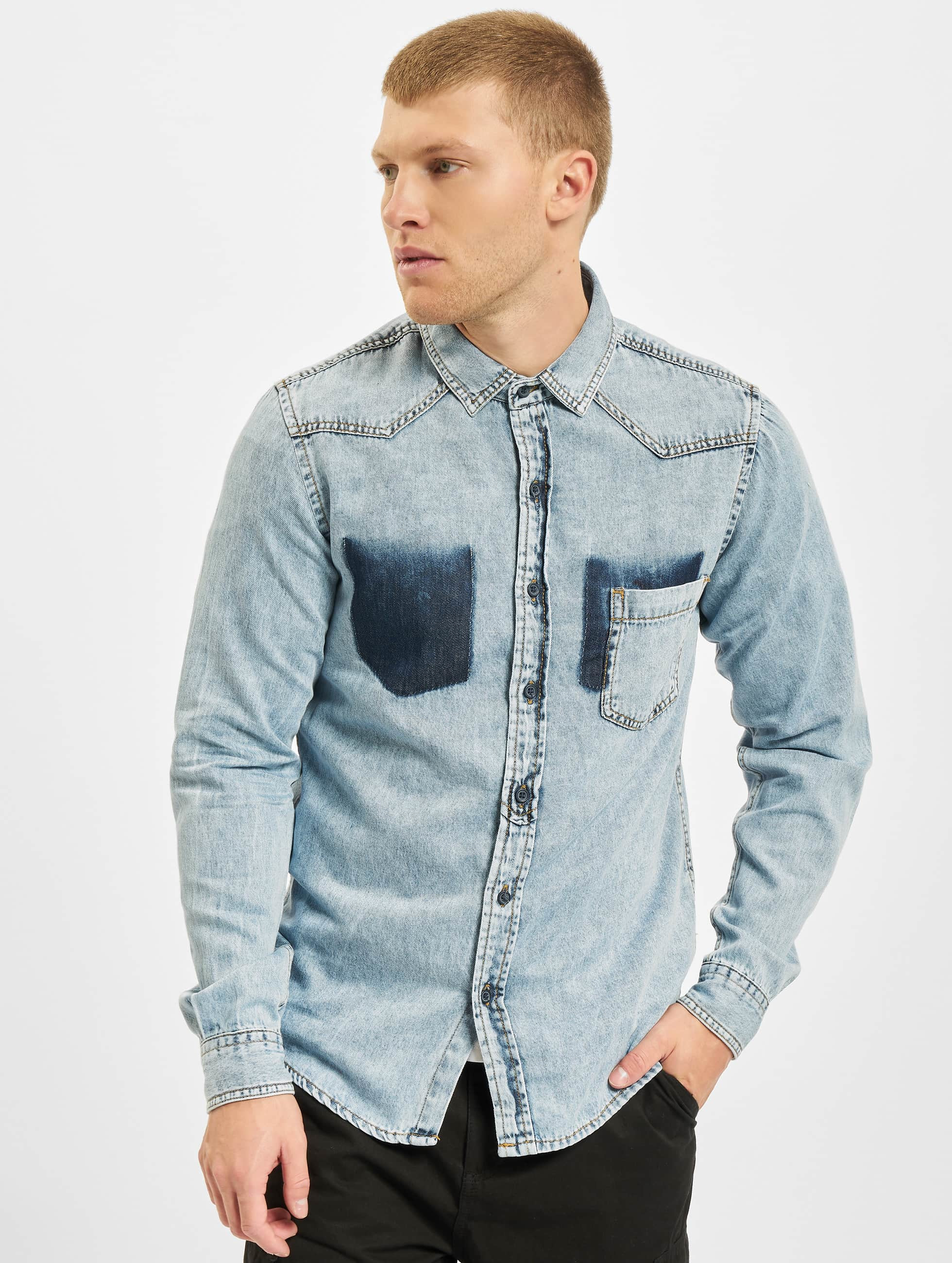 Urban Classics Skjorte Denim Pocket blå
