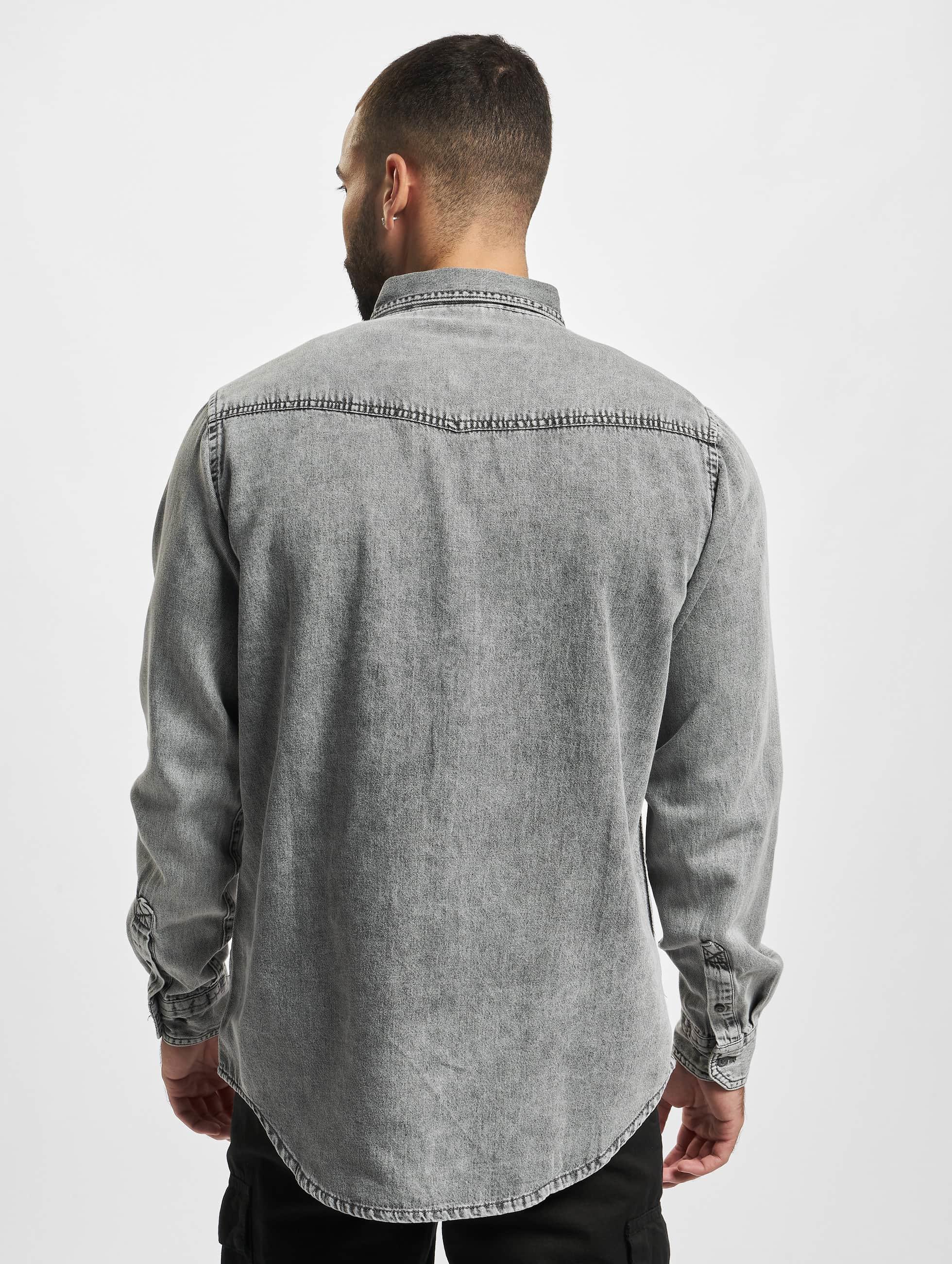 Urban Classics Skjorte Denim Pocket grå