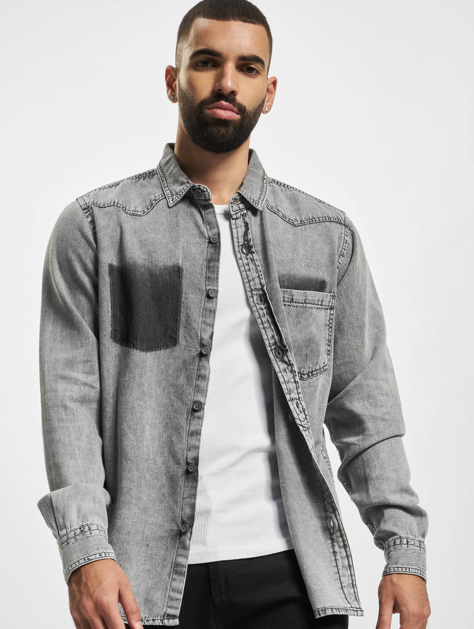 Urban Classics Skjorter Denim Pocket grå