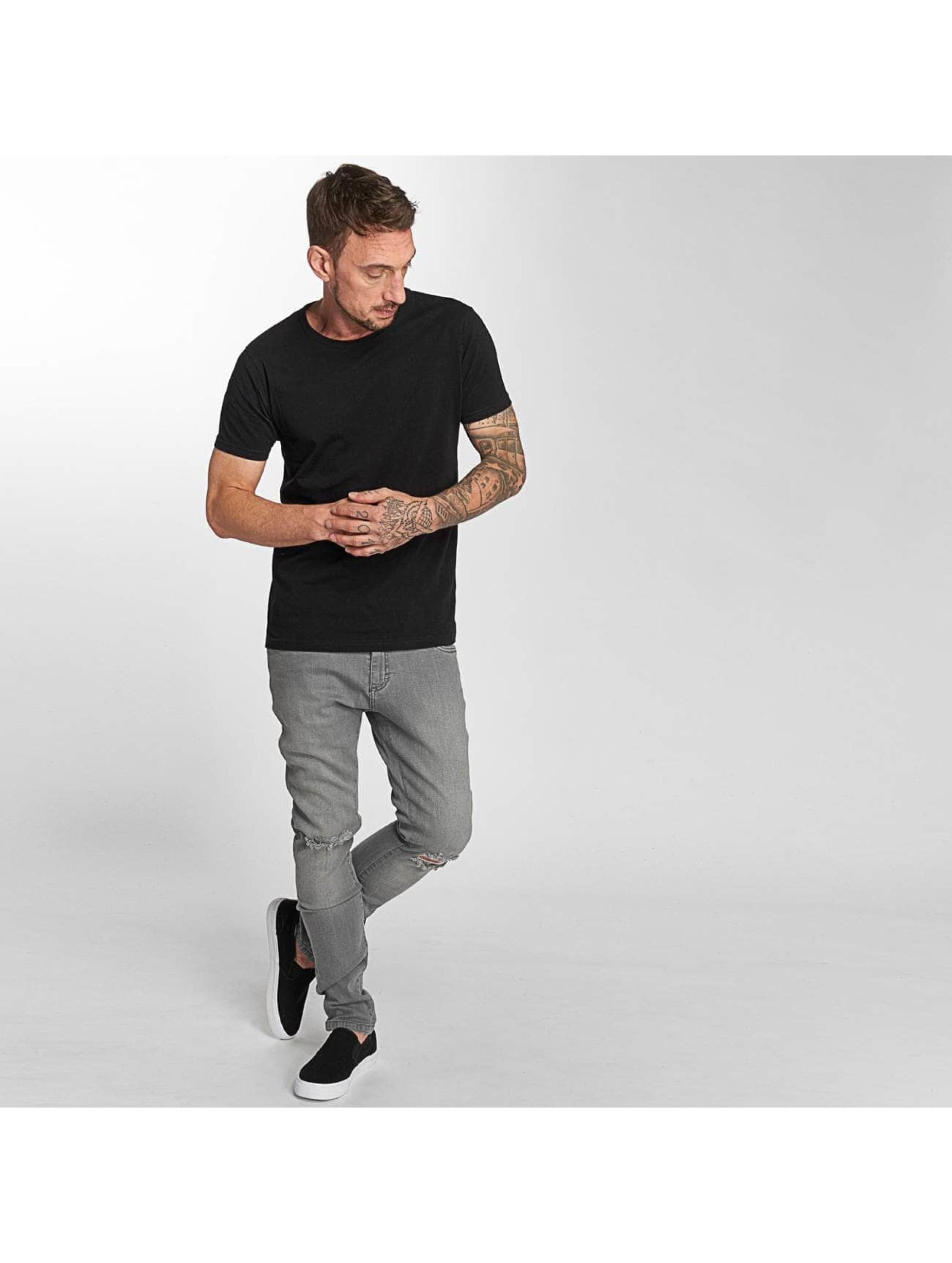 Urban Classics Slim Fit Jeans Knee Cut šedá