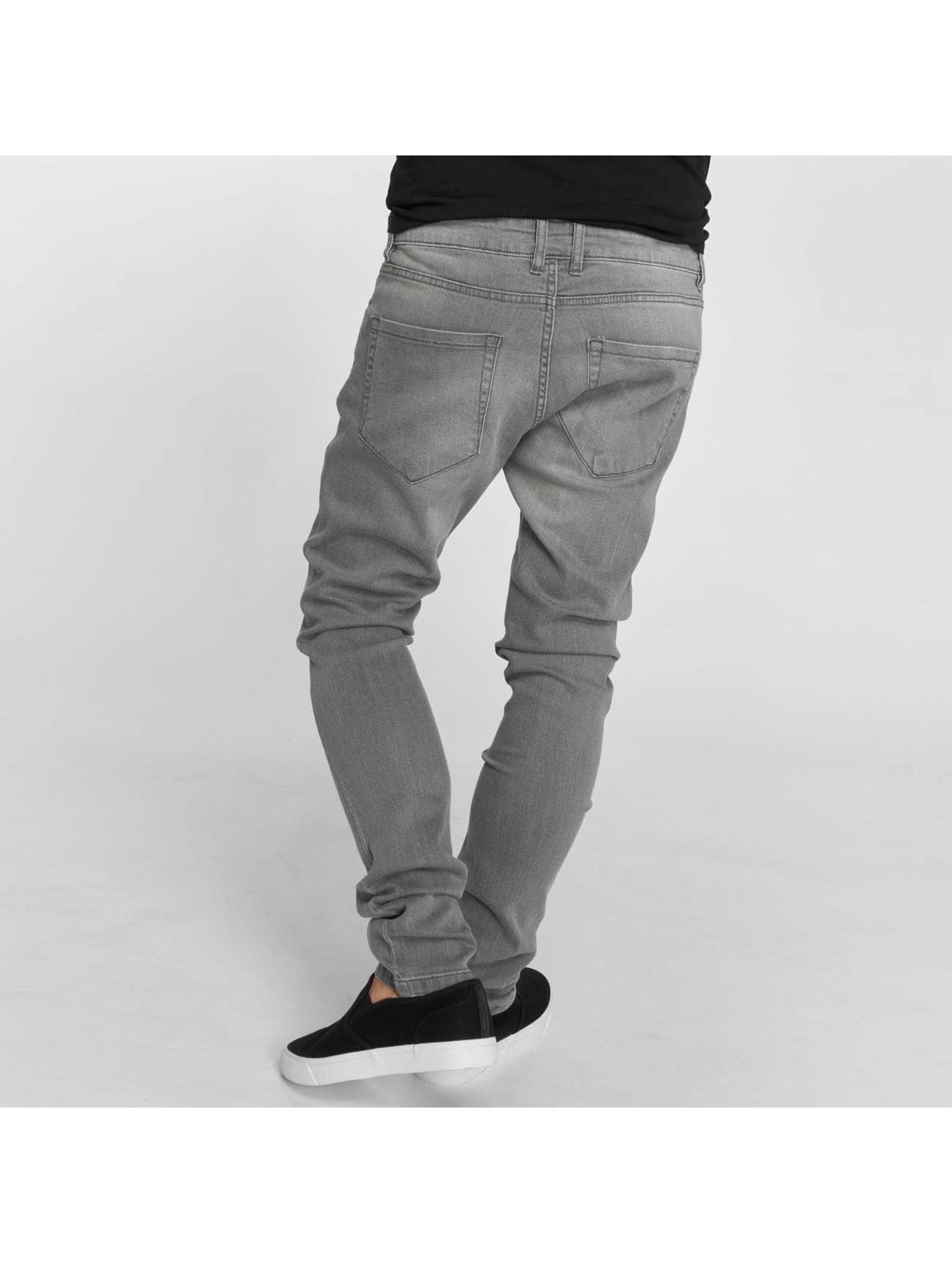 Urban Classics Slim Fit Jeans Knee Cut grå