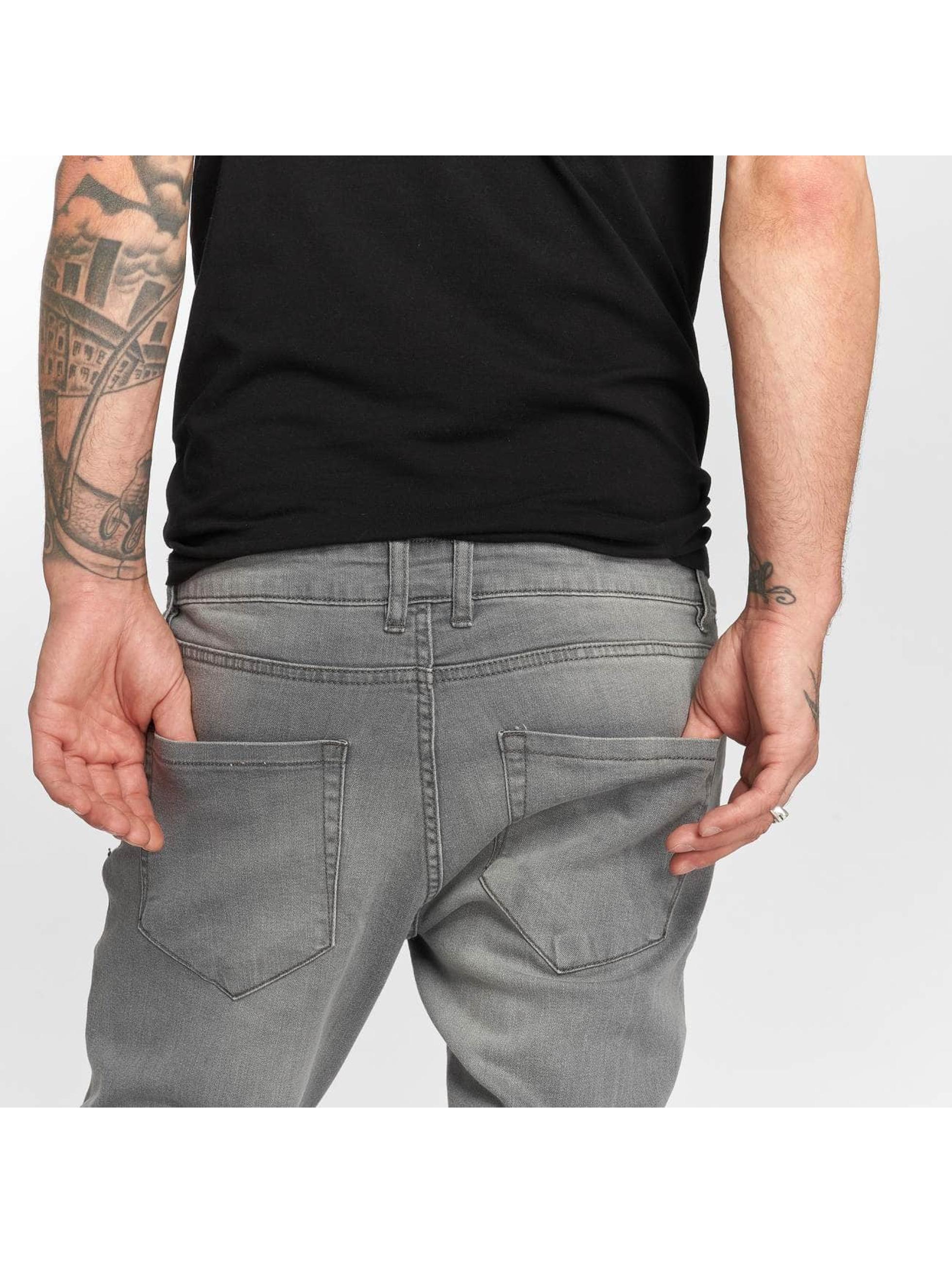 Urban Classics Slim Fit Jeans Knee Cut grijs