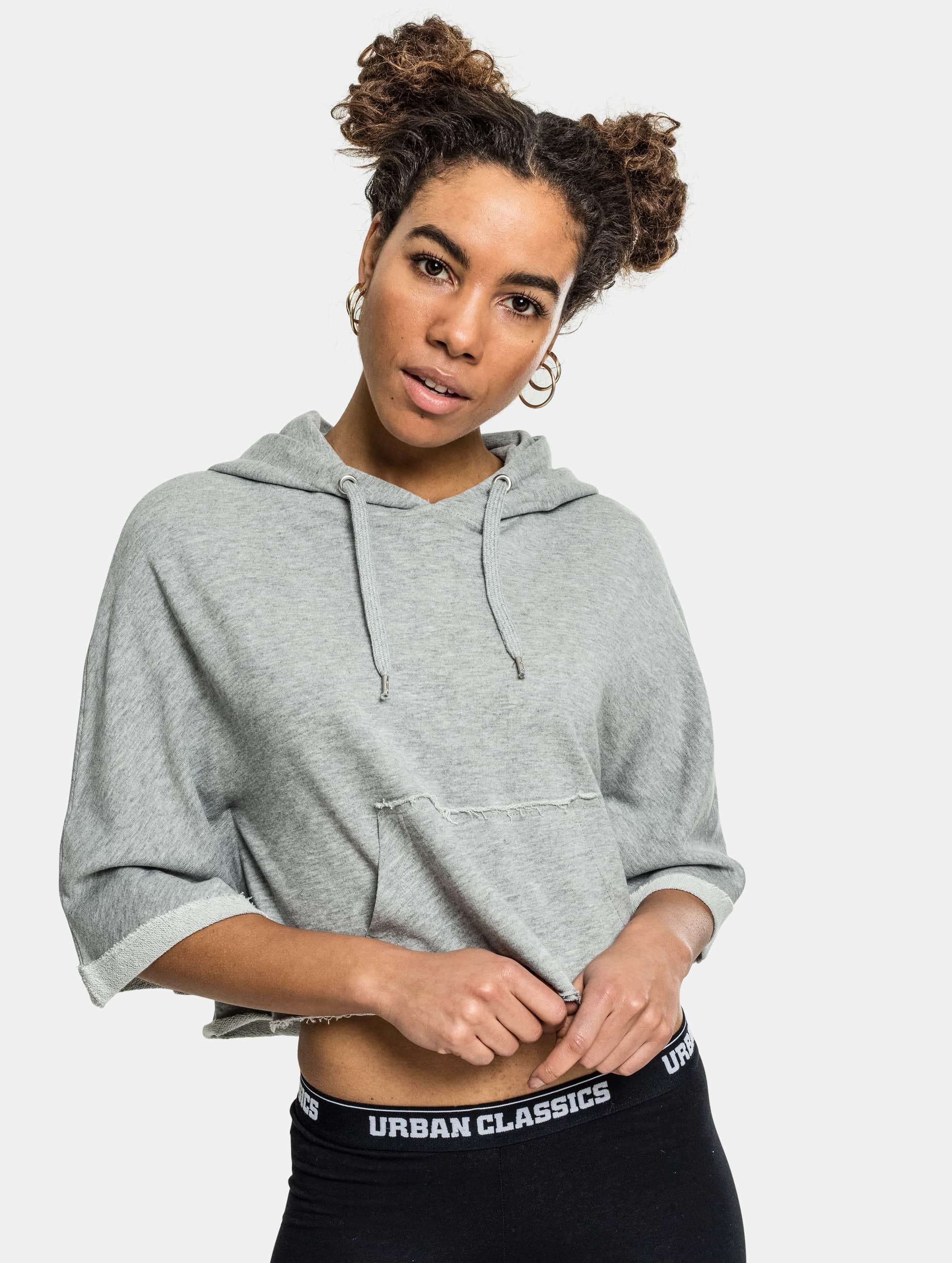 Urban Classics Haut / Sweat à capuche Cropped Poncho en gris