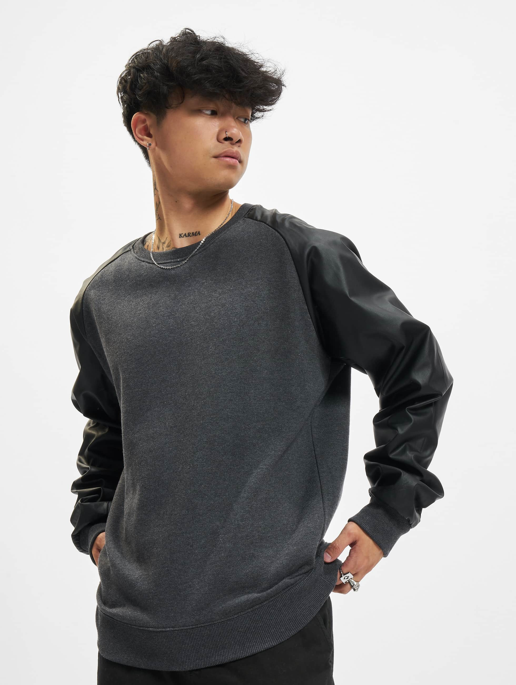 Urban Classics Sweat & Pull Raglan Leather Imitation gris