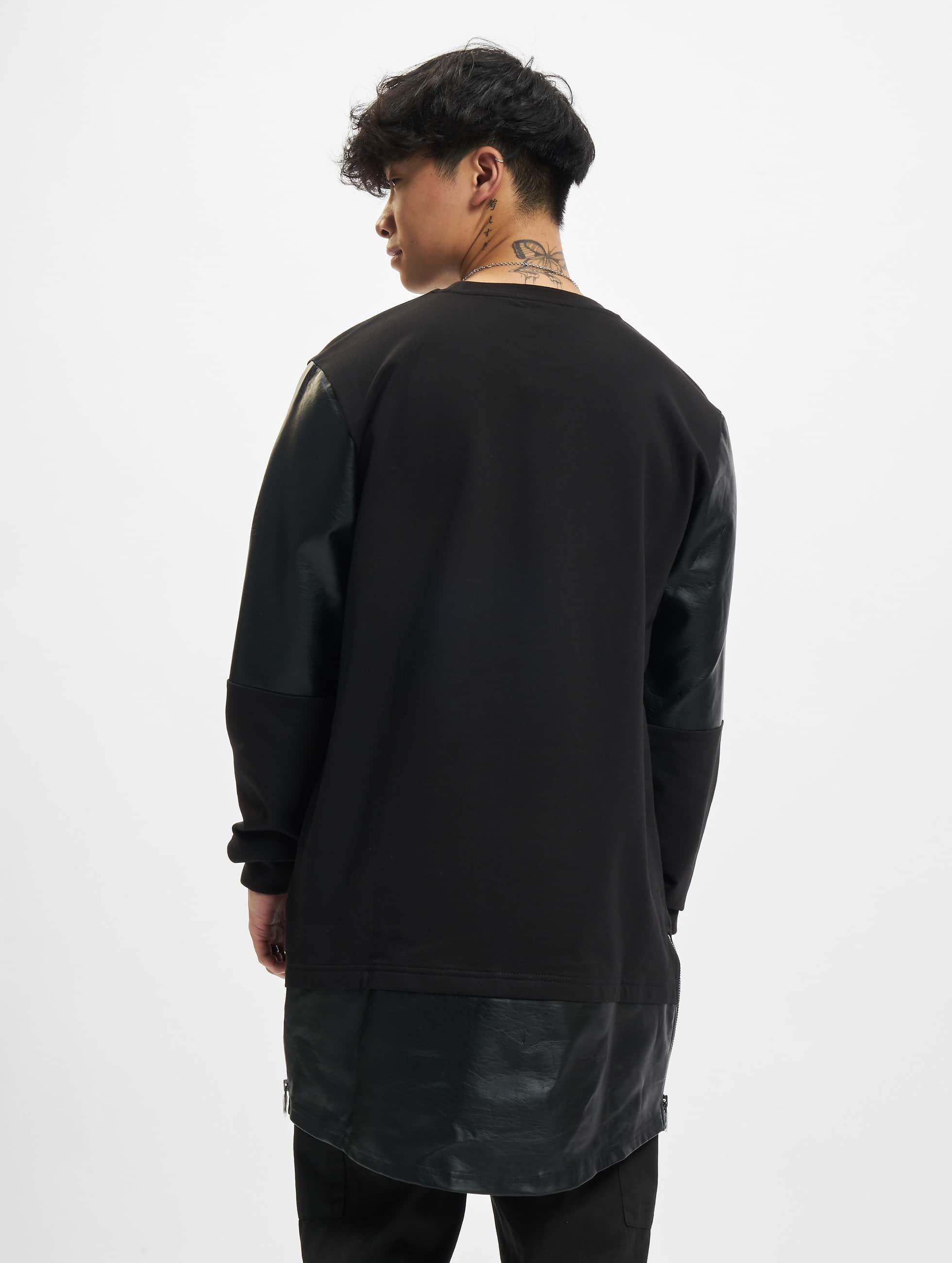 Urban Classics Sweat & Pull Long Zipped Leather Imitation noir