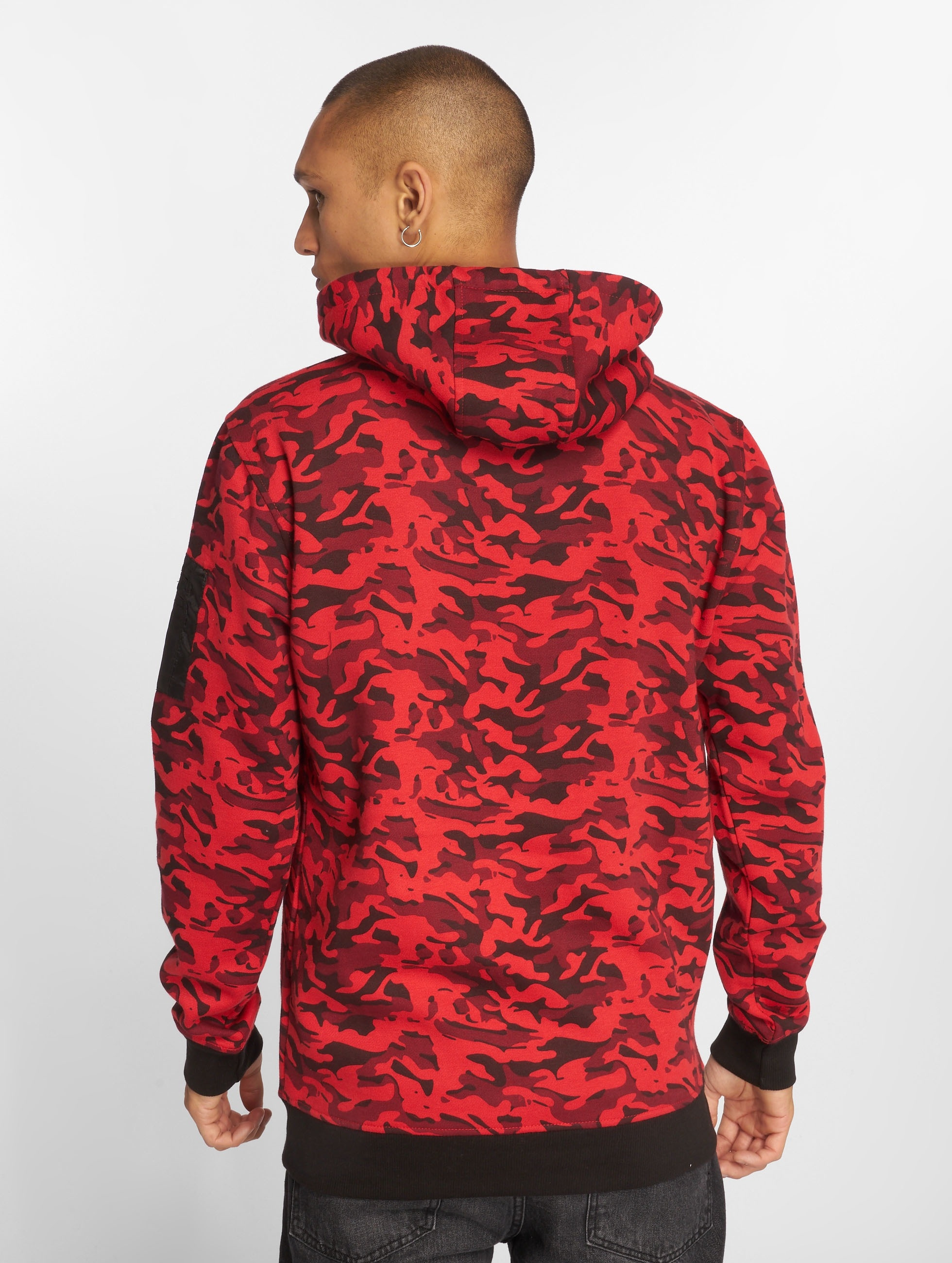Urban Classics Sweat capuche Sweat Camo Bomber rouge