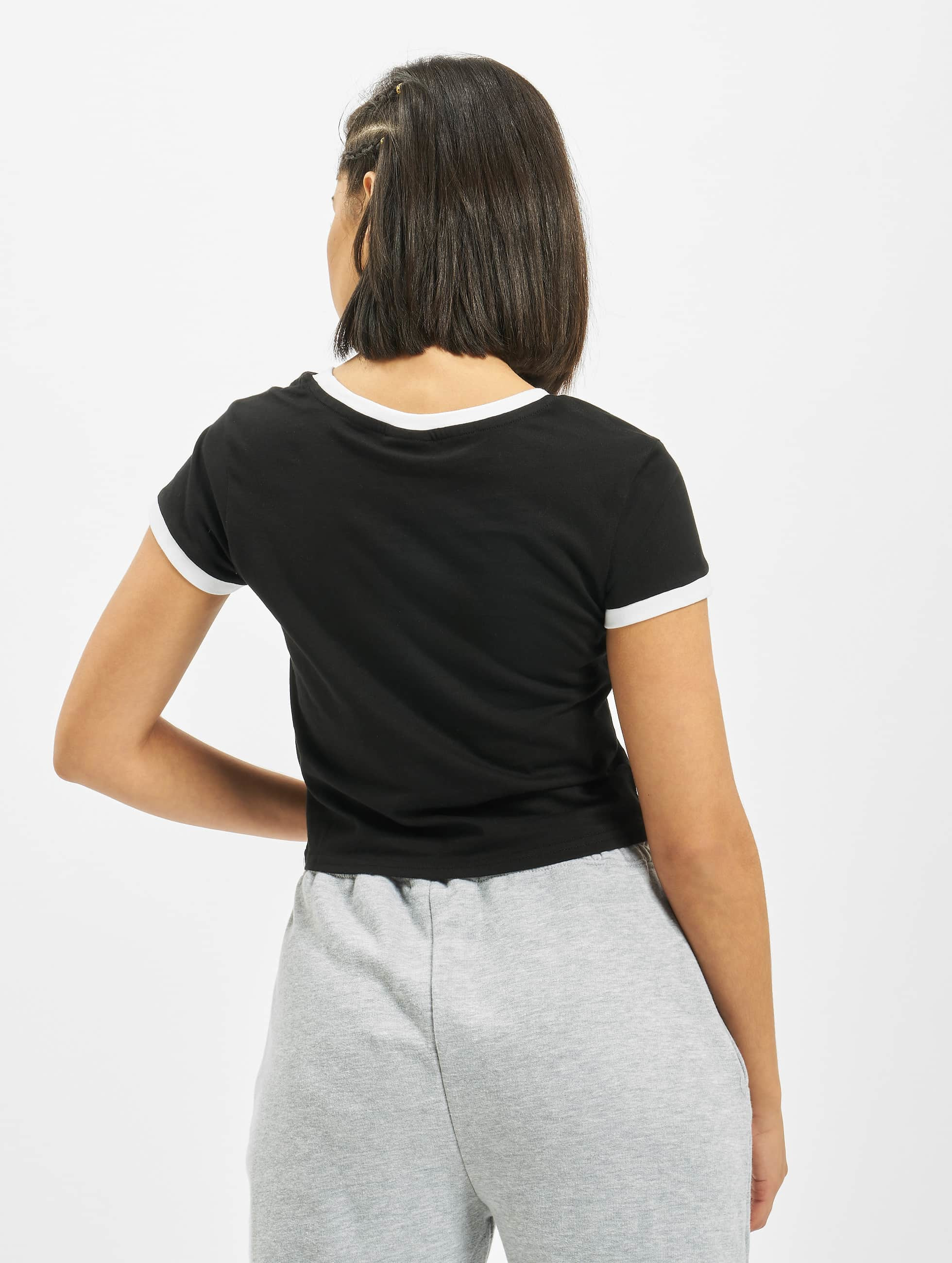 Urban Classics T-Shirt Ladies Cropped Ringer black