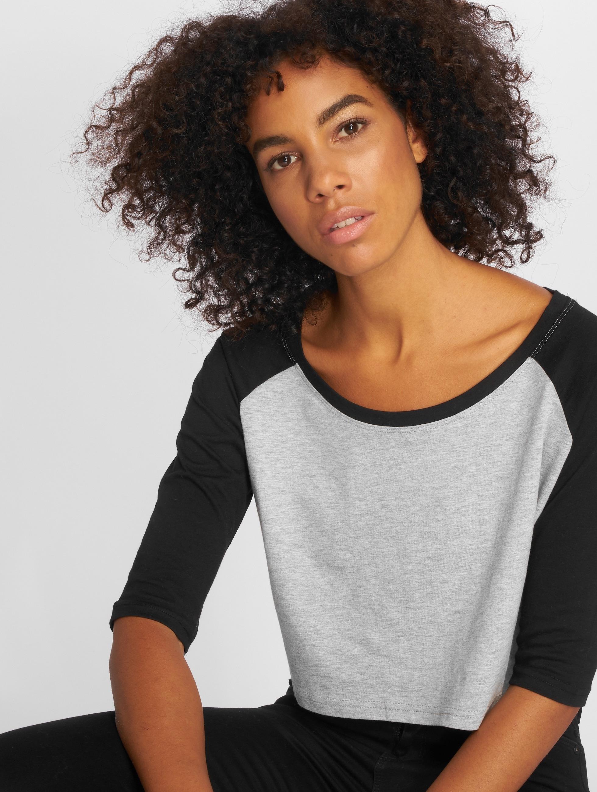 Urban Classics Haut / T-Shirt Cropped 3/4 Raglan en gris
