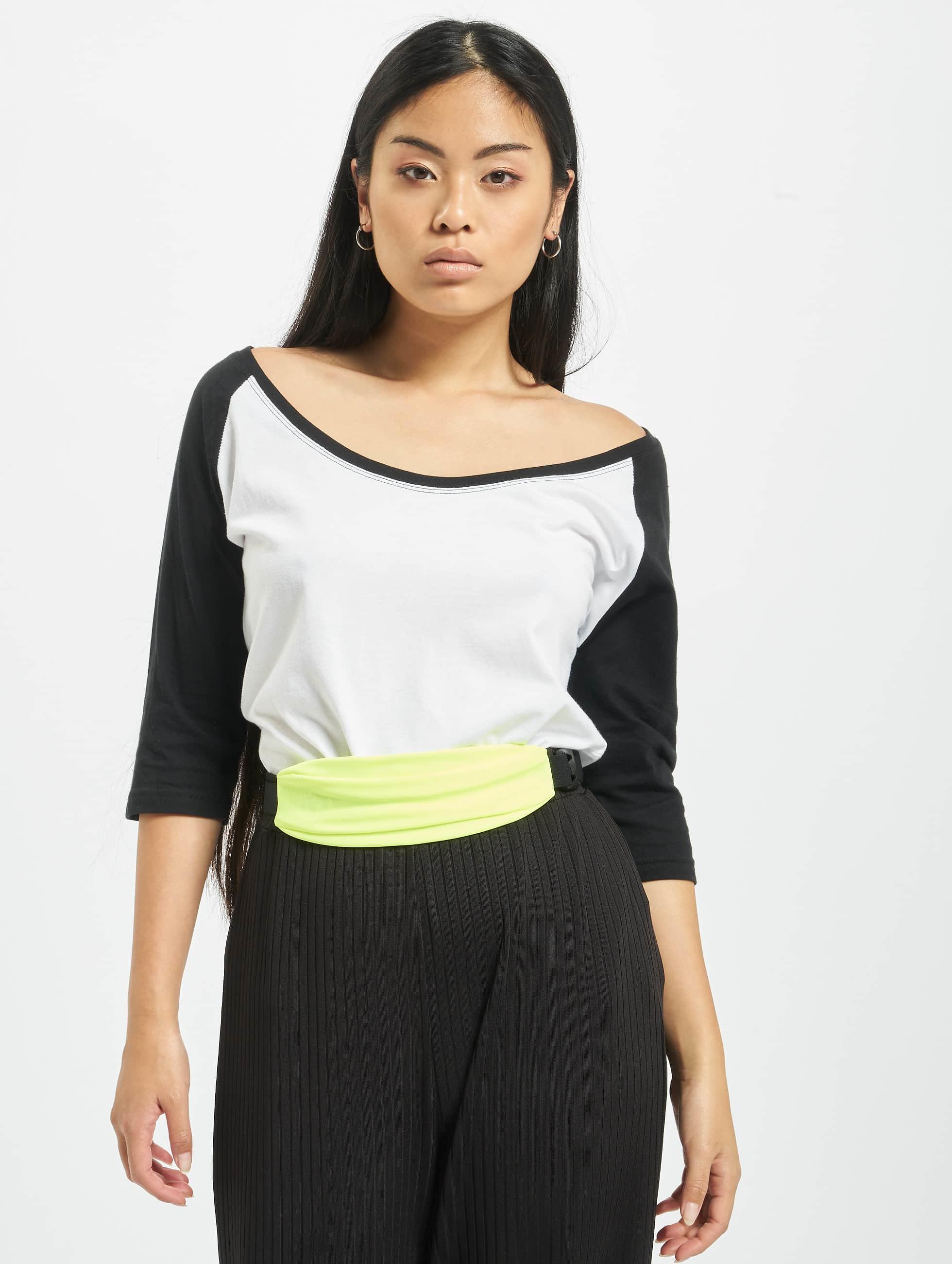 Urban Classics Haut / T-Shirt manches longues Ladies 3/4 Contrast Raglan en blanc