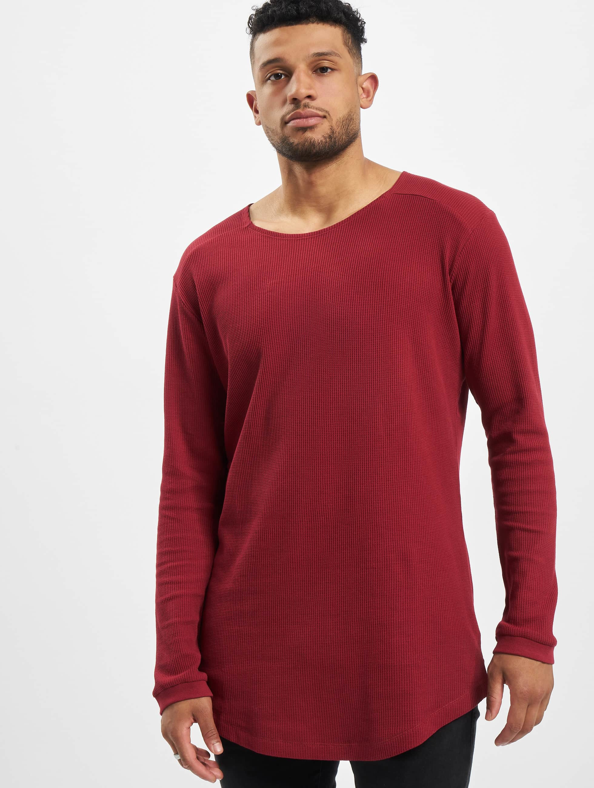 Urban Classics T-Shirt manches longues Long Shaped Waffle rouge
