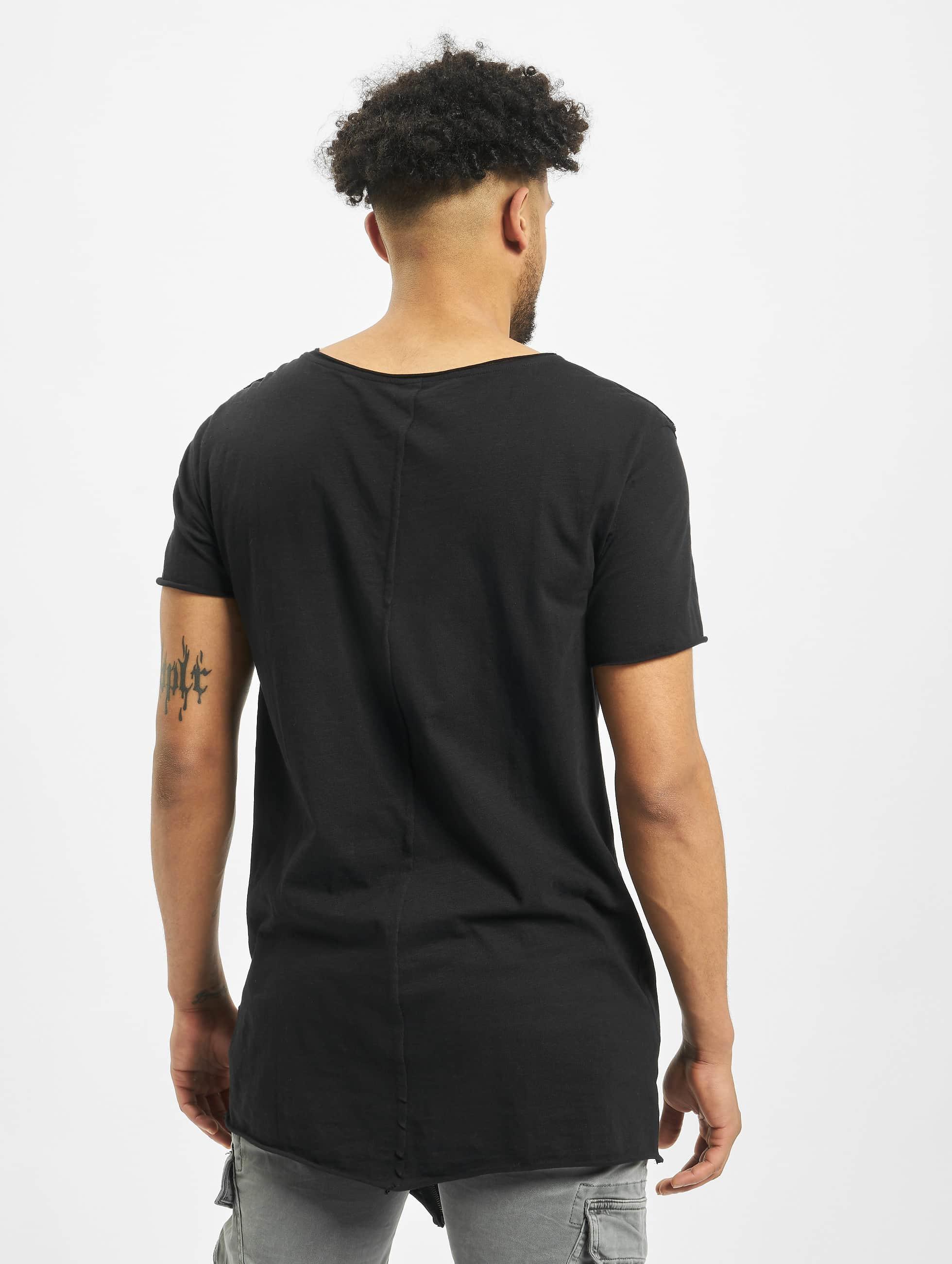 Urban Classics T-shirt Long Open Edge Front Zip nero
