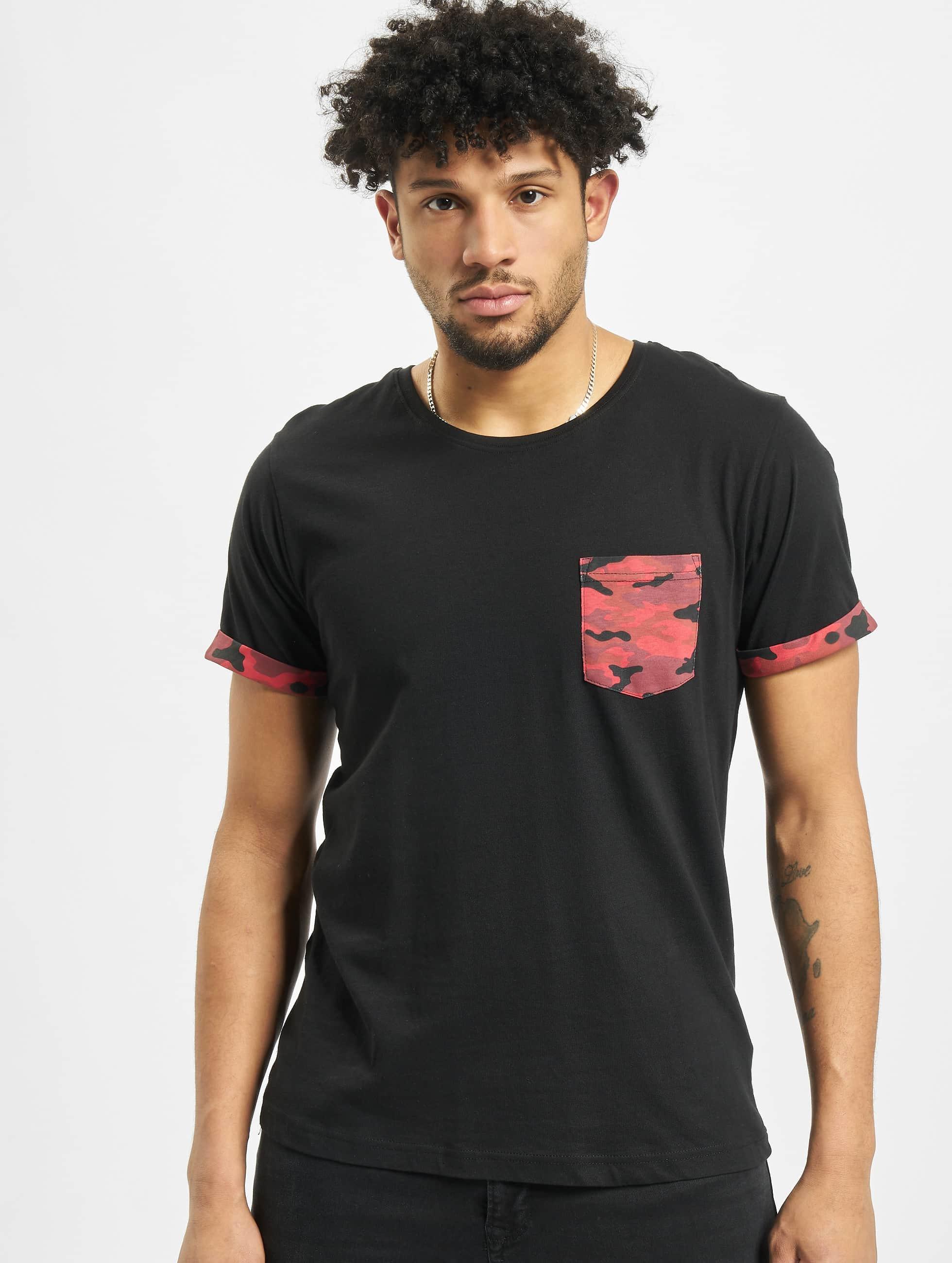 Urban Classics T-Shirt Camo Contrast Pocket noir