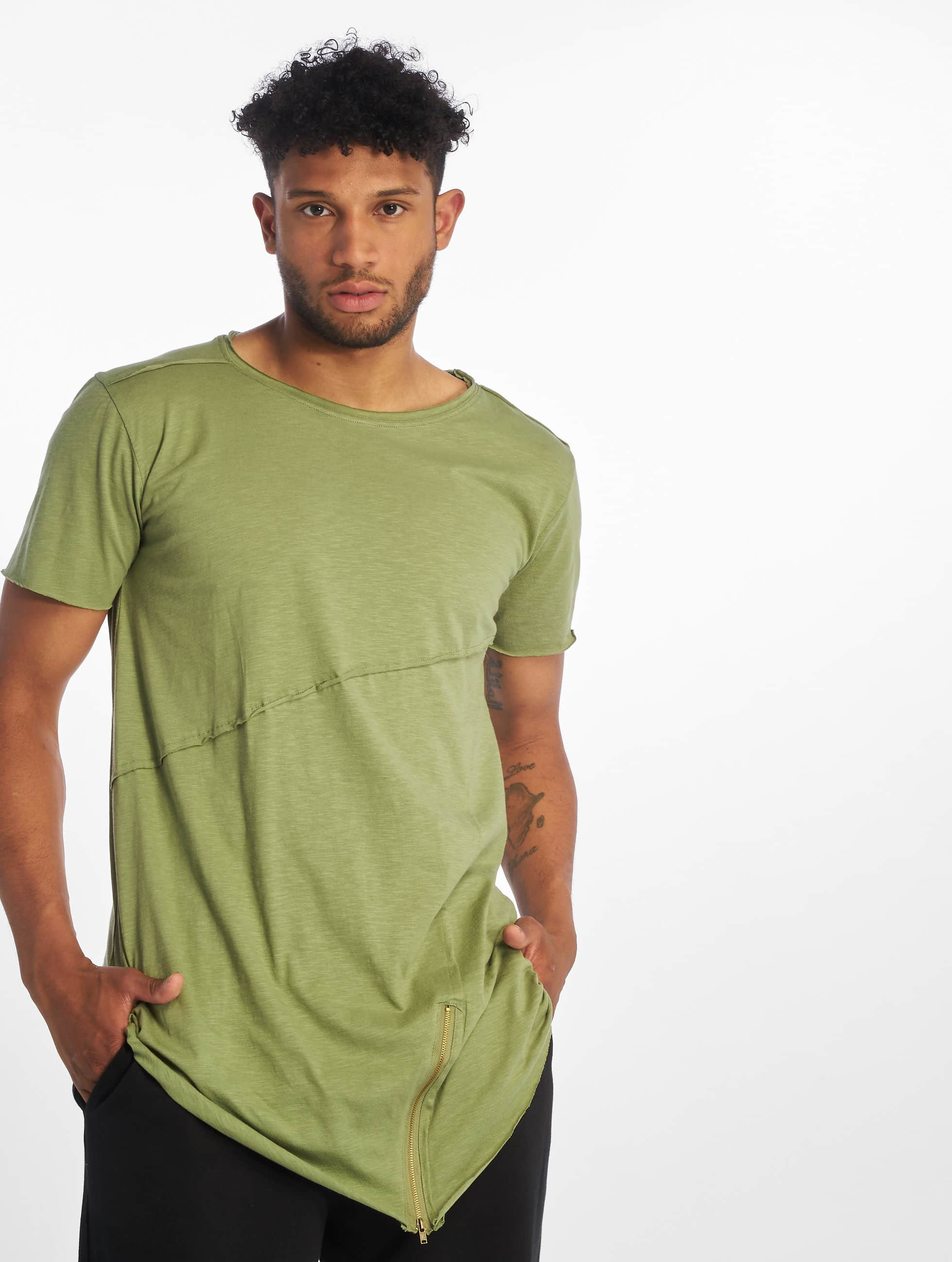 T-Shirt Long Open Edge Front Zip in olive