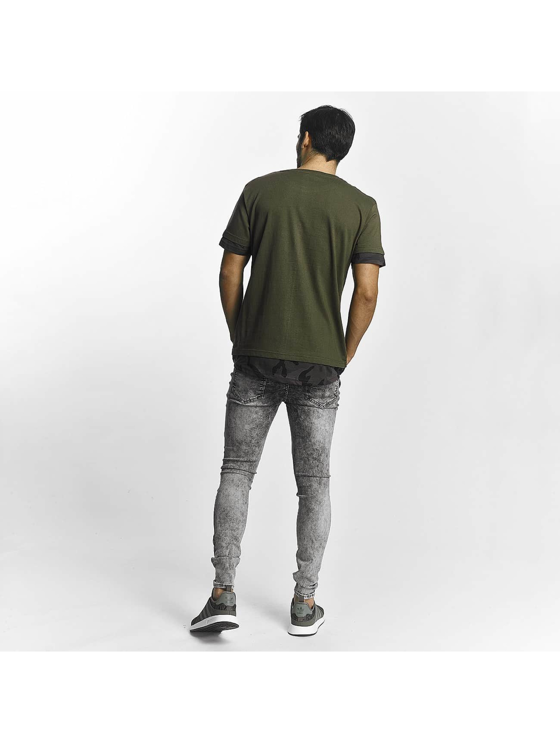 urban classics herren t shirt long shaped camo inset in olive 400797. Black Bedroom Furniture Sets. Home Design Ideas