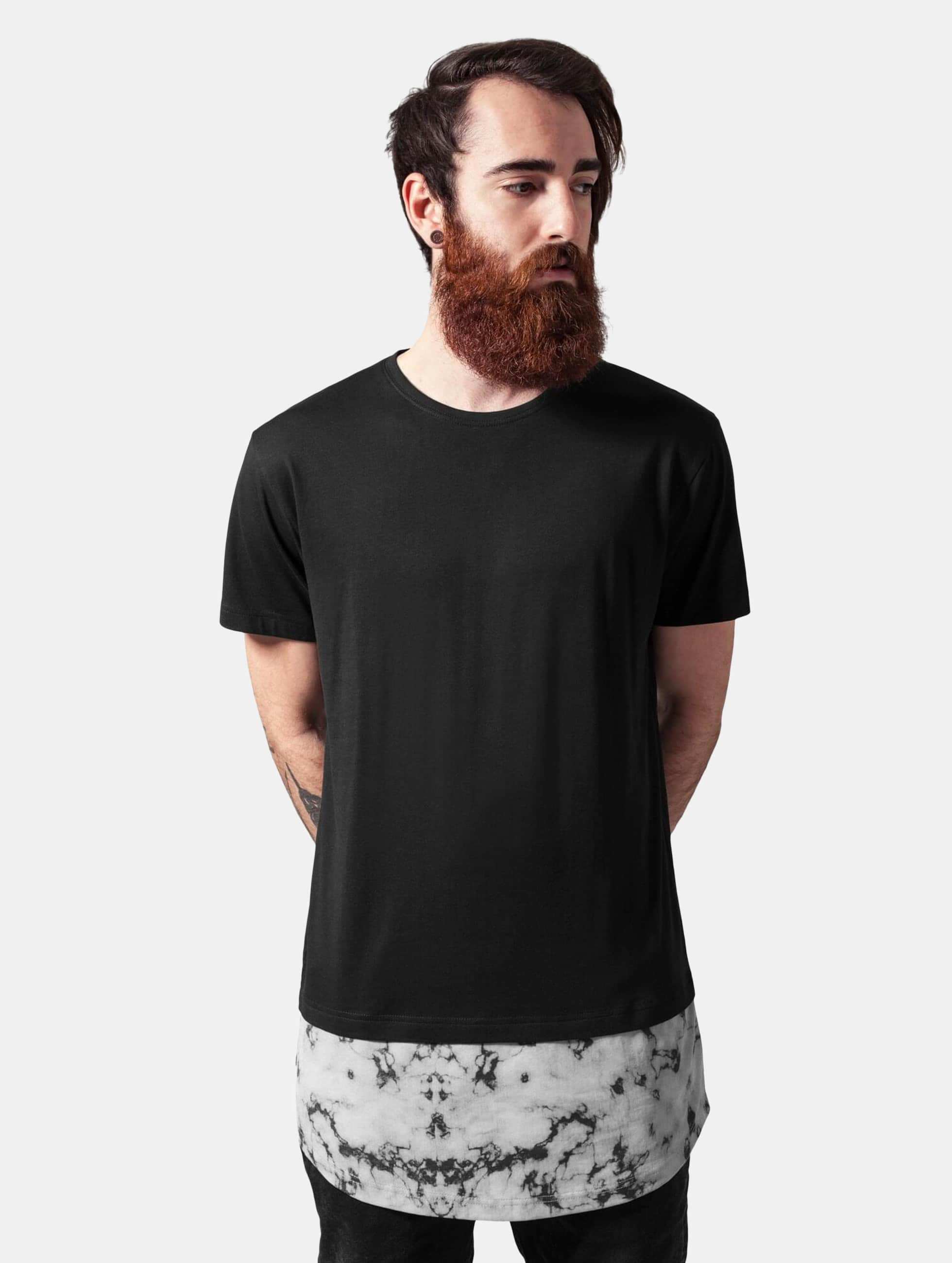 Urban Classics T-Shirt Long Shaped Marble schwarz