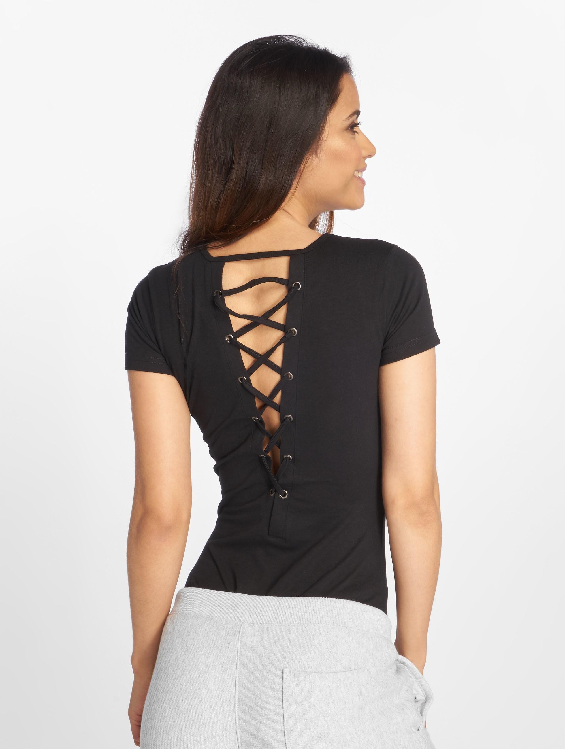 Urban Classics T-Shirt Ladies Lace Up schwarz