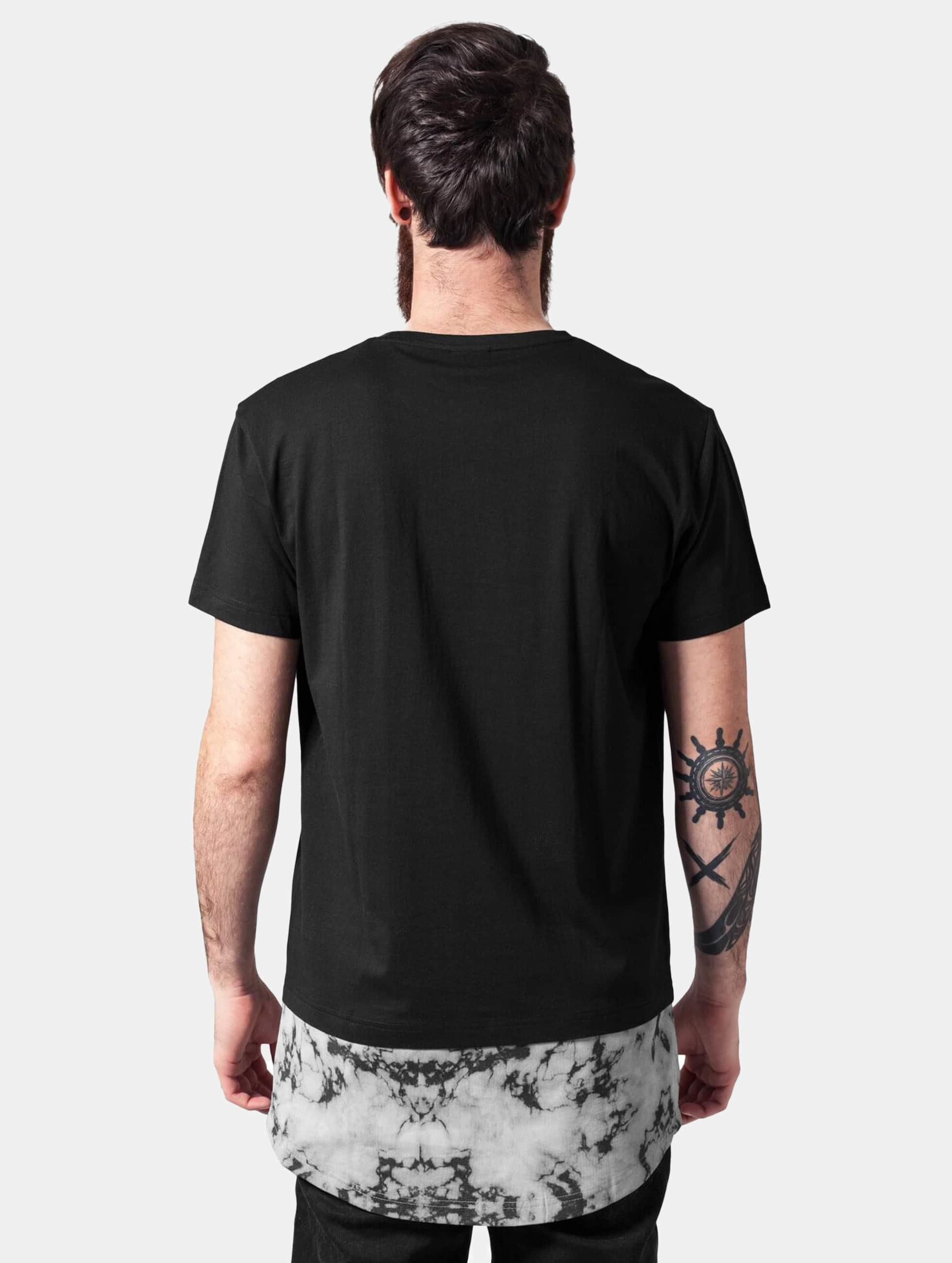Urban Classics T-shirt Long Shaped Marble svart