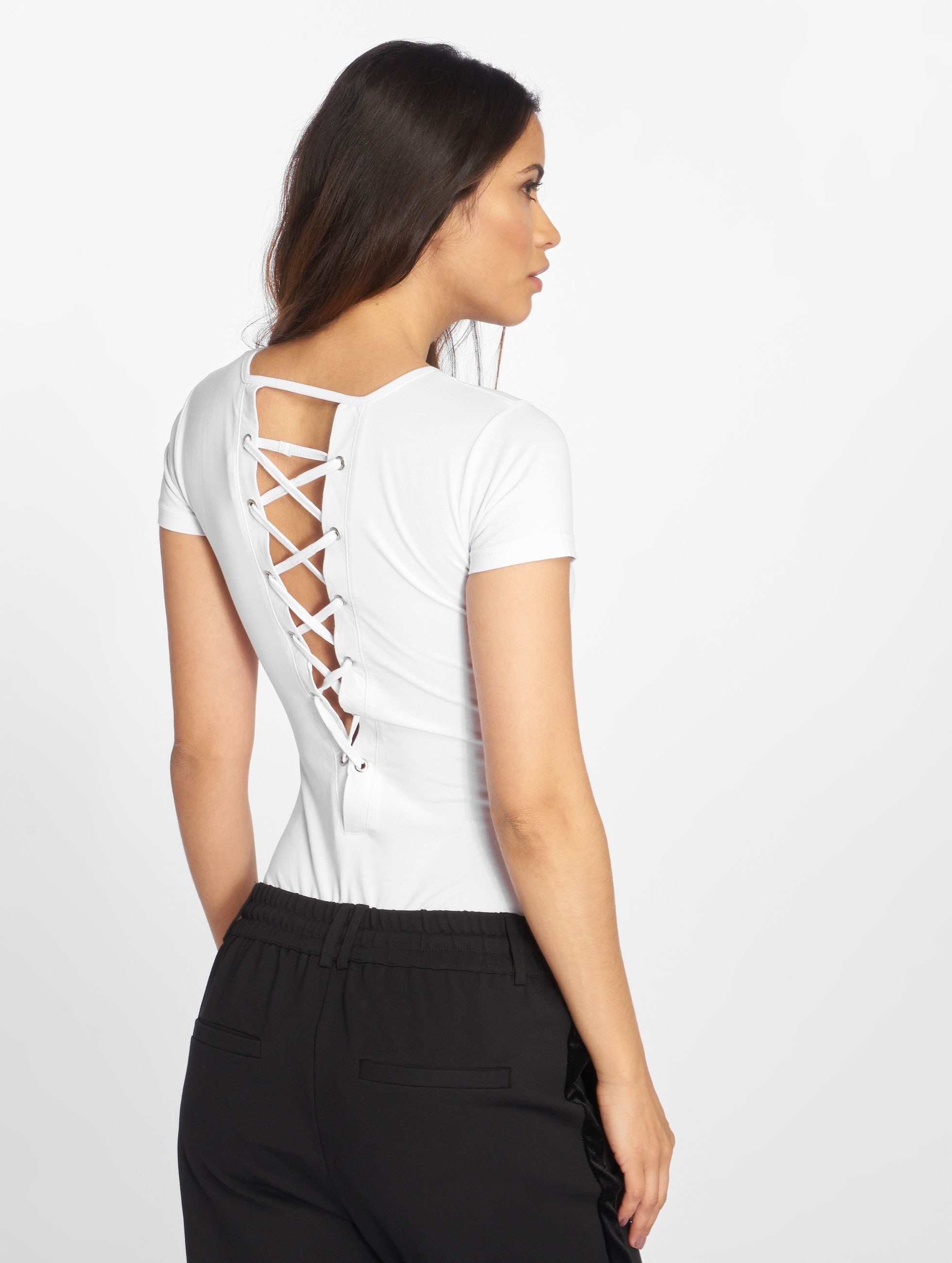 Urban Classics T-Shirt Ladies Lace Up white