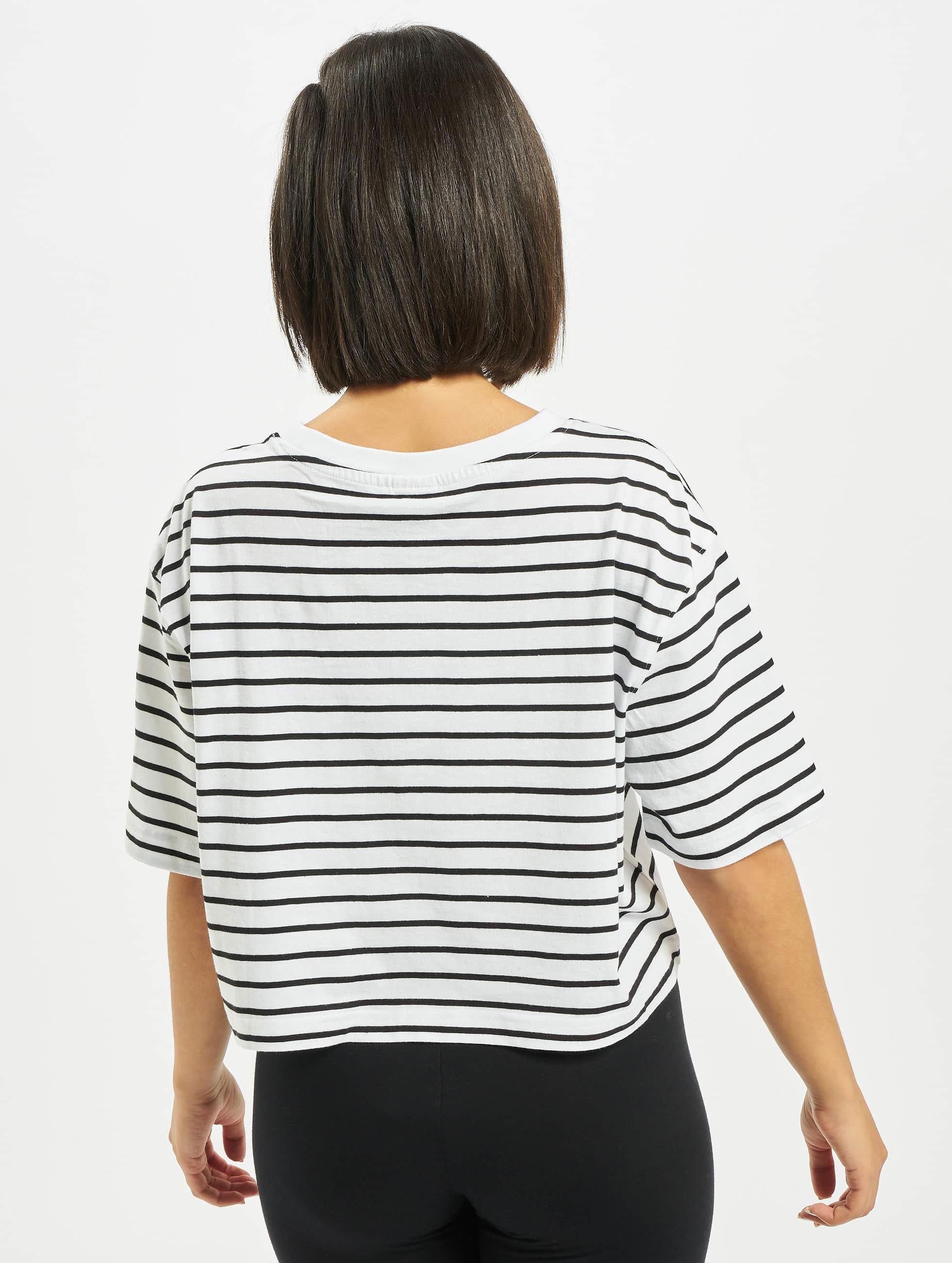 Urban Classics T-Shirt Ladies Striped Oversized white