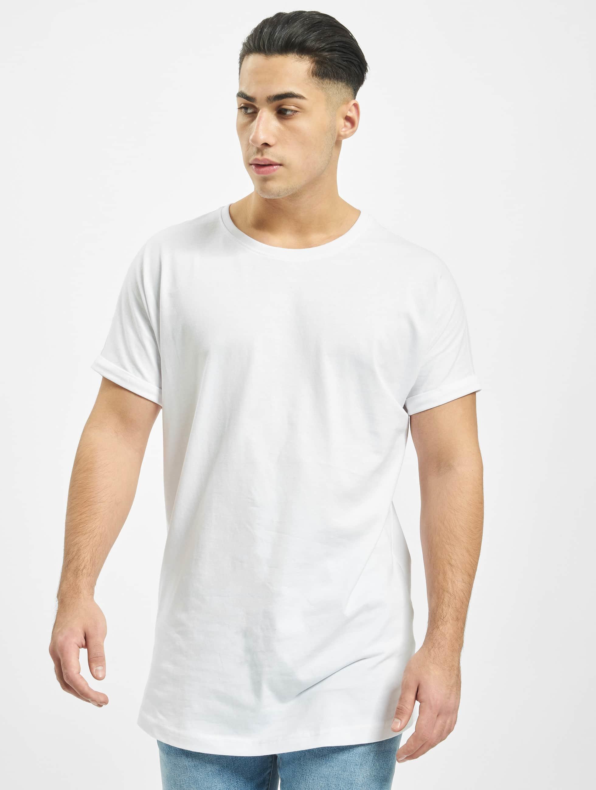 ... Urban Classics bovenstuk / t-shirt Long Shaped Turnup in wit ...